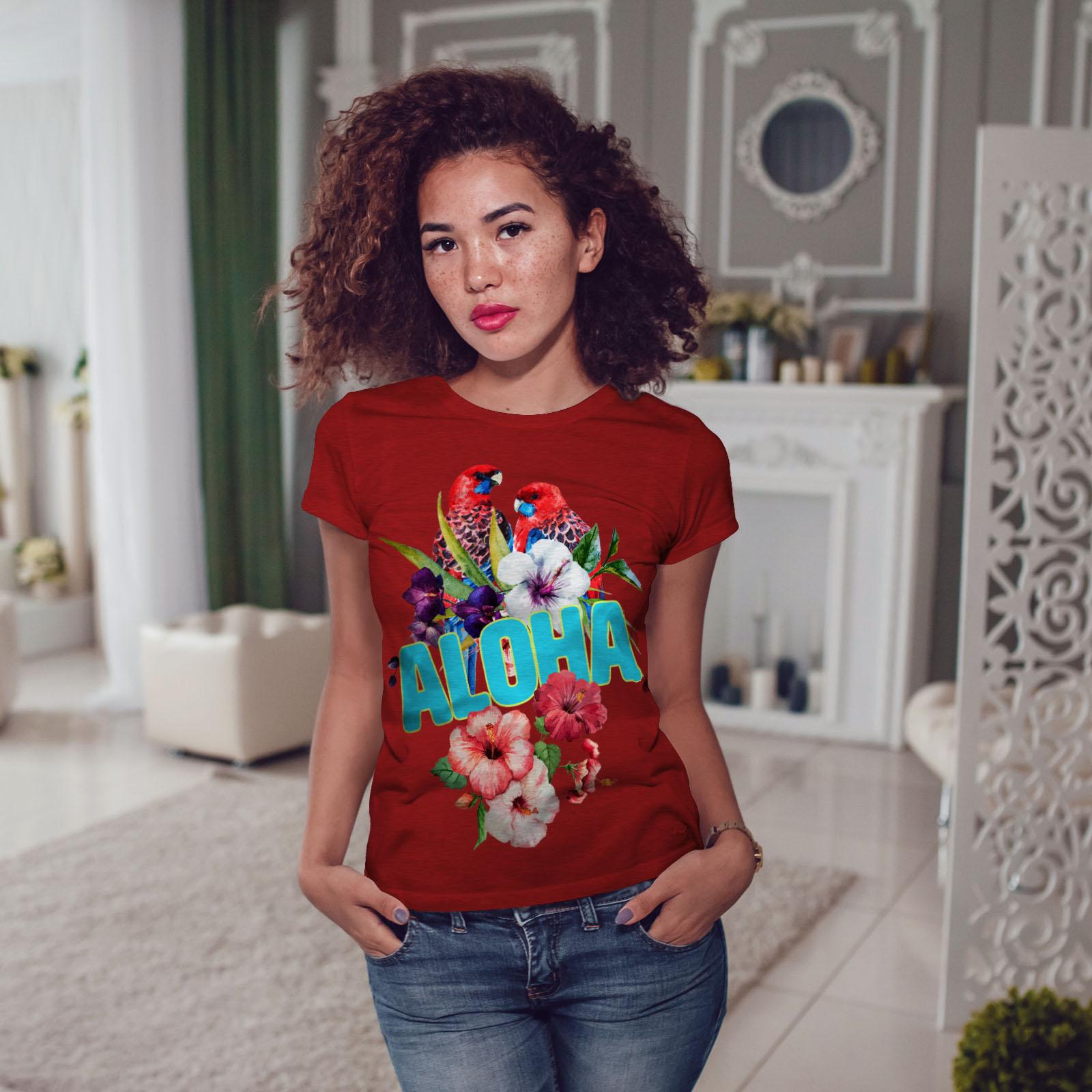 Wellcoda-Hawaiian-Aloha-Bloom-Womens-T-shirt-Bird-Casual-Design-Printed-Tee thumbnail 11