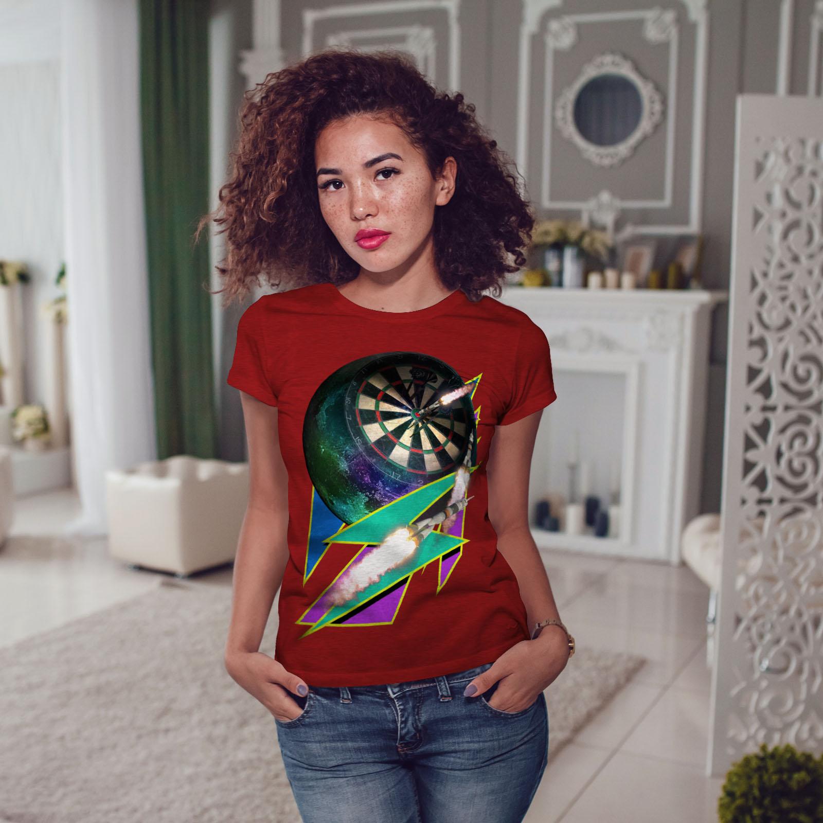 miniature 11 - Wellcoda Dart Board Gaming Womens T-shirt, Achieve Casual Design Printed Tee