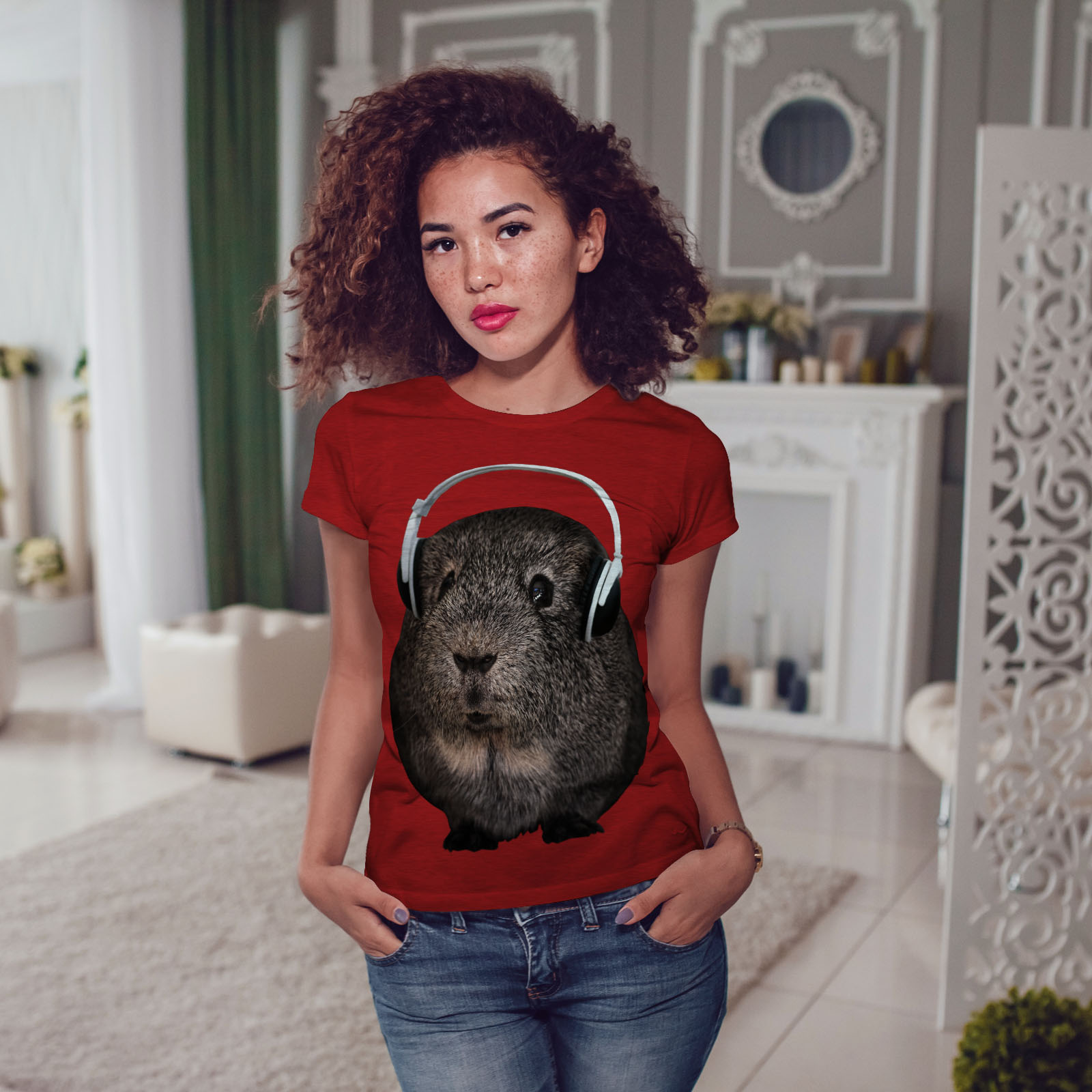 Wellcoda-Guinea-Maiale-BEAT-Divertente-T-shirt-da-donna-design-casual-Animale-Stampato-Tee miniatura 11