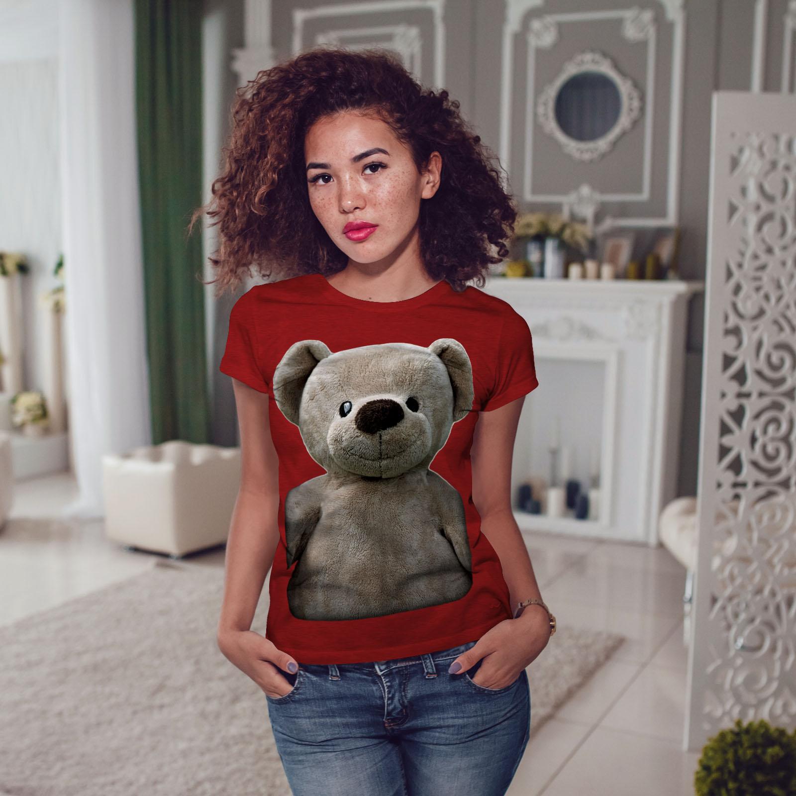 miniature 11 - Wellcoda Cute Plush Womens T-shirt, Teddy Bear Casual Design Printed Tee