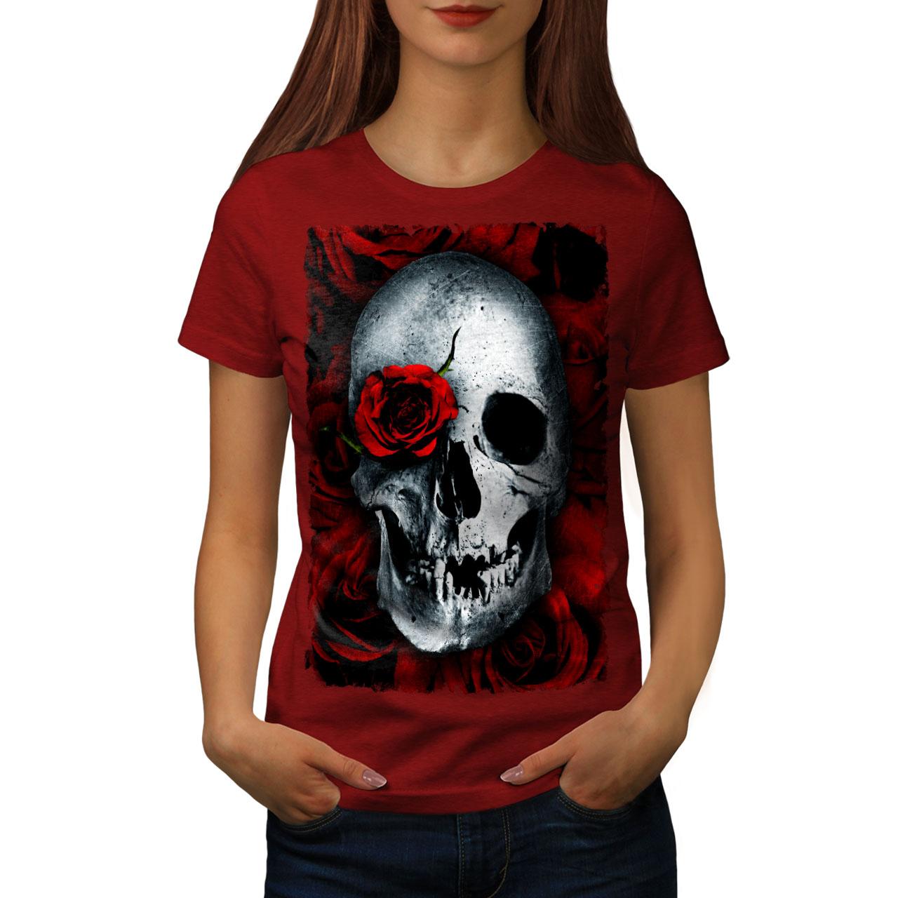 Skulls Rose Flower Women T-shirt NEWWellcoda