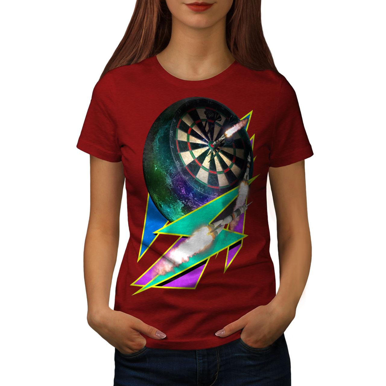 miniature 9 - Wellcoda Dart Board Gaming Womens T-shirt, Achieve Casual Design Printed Tee