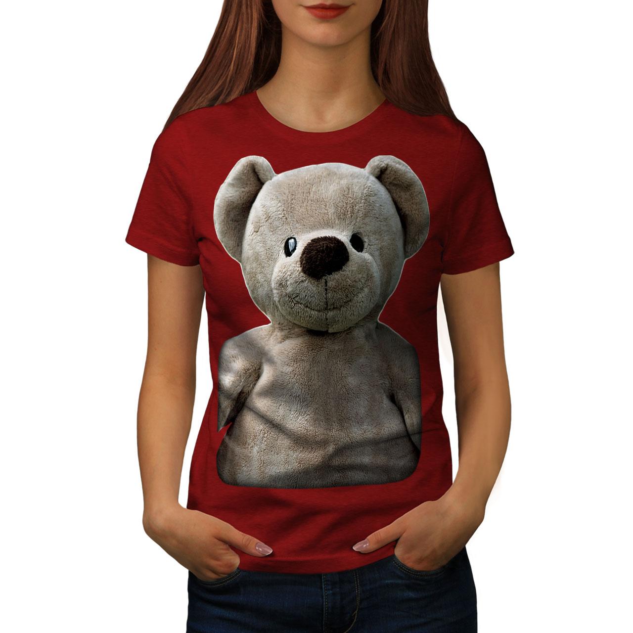 miniature 9 - Wellcoda Cute Plush Womens T-shirt, Teddy Bear Casual Design Printed Tee