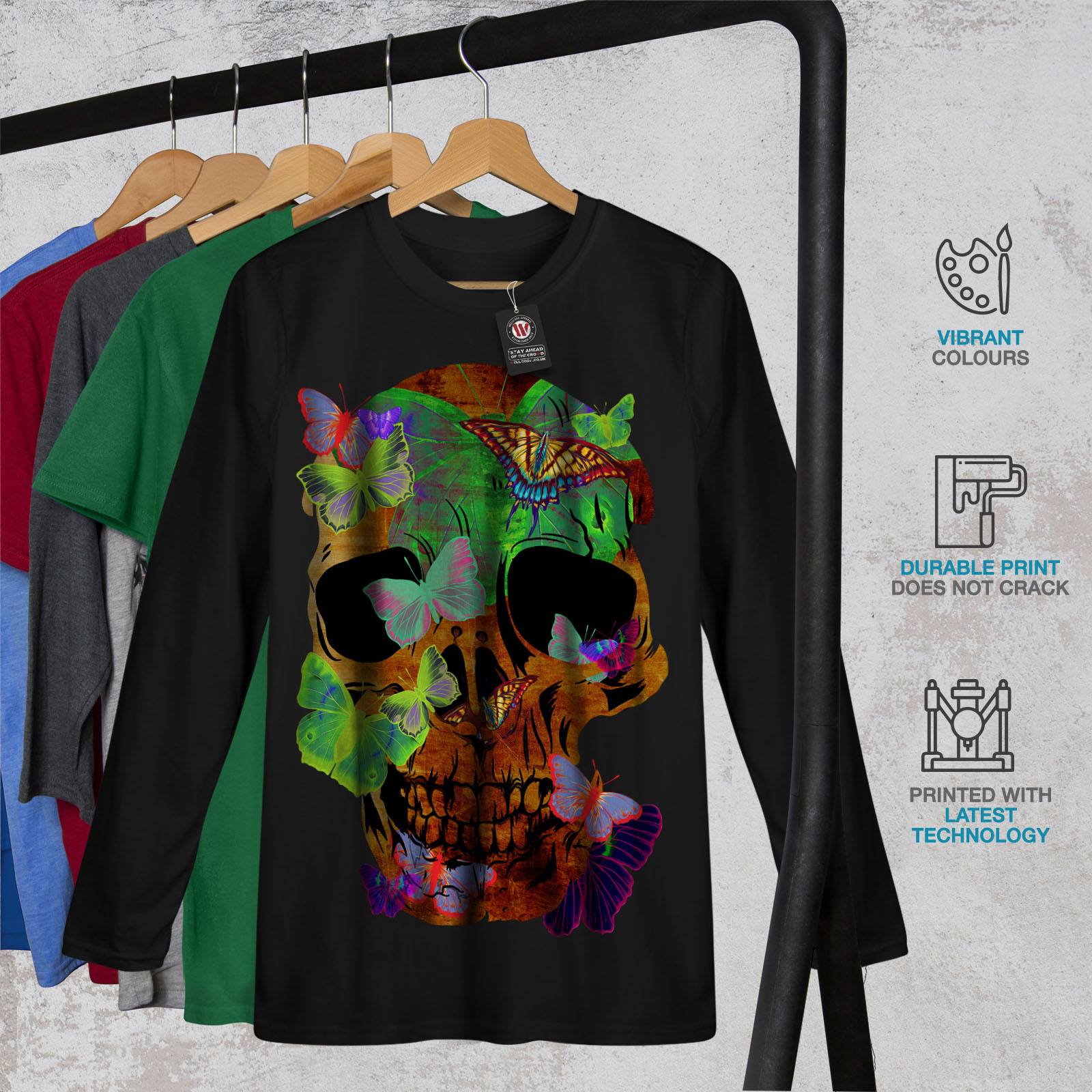 420700cc Wellcoda Butterflies Skull Womens Long Sleeve T-shirt, Peace Casual ...