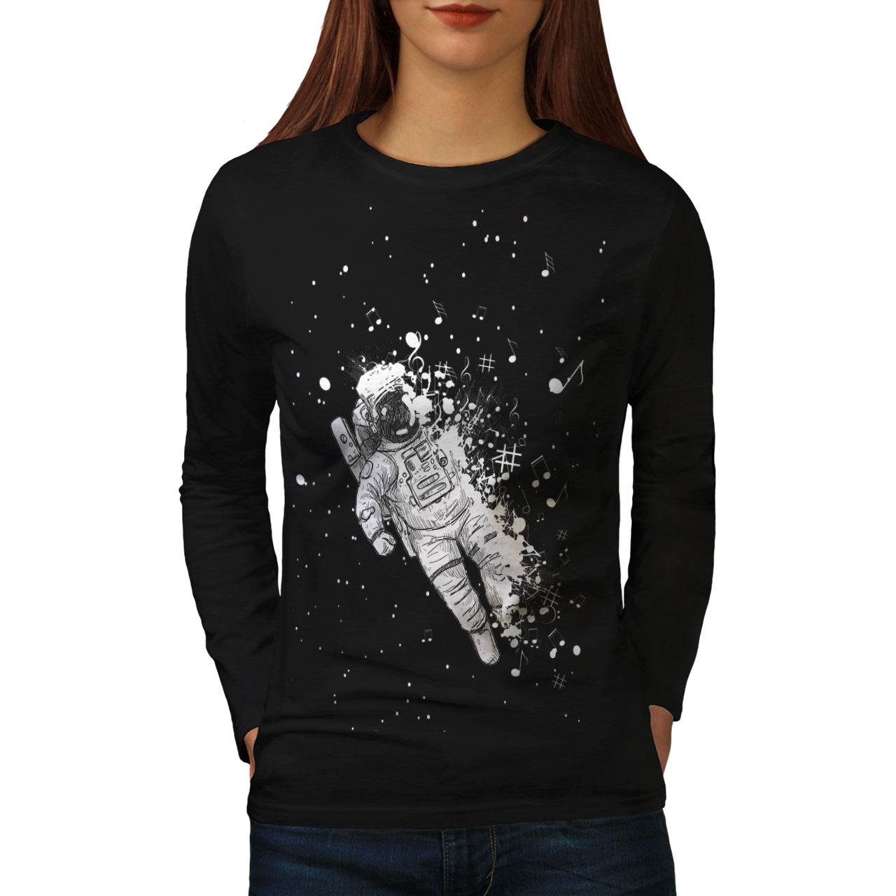Evil Graphic Design Wellcoda Skull Astronaut Space Mens Long Sleeve T-shirt