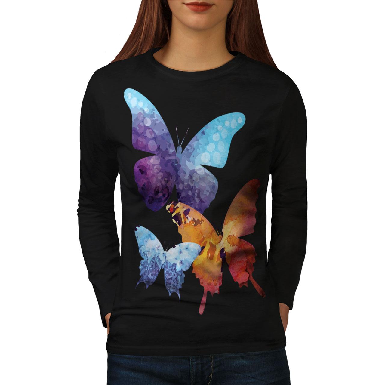 Artistic Butterfly Women Long Sleeve T-shirt NEWWellcoda