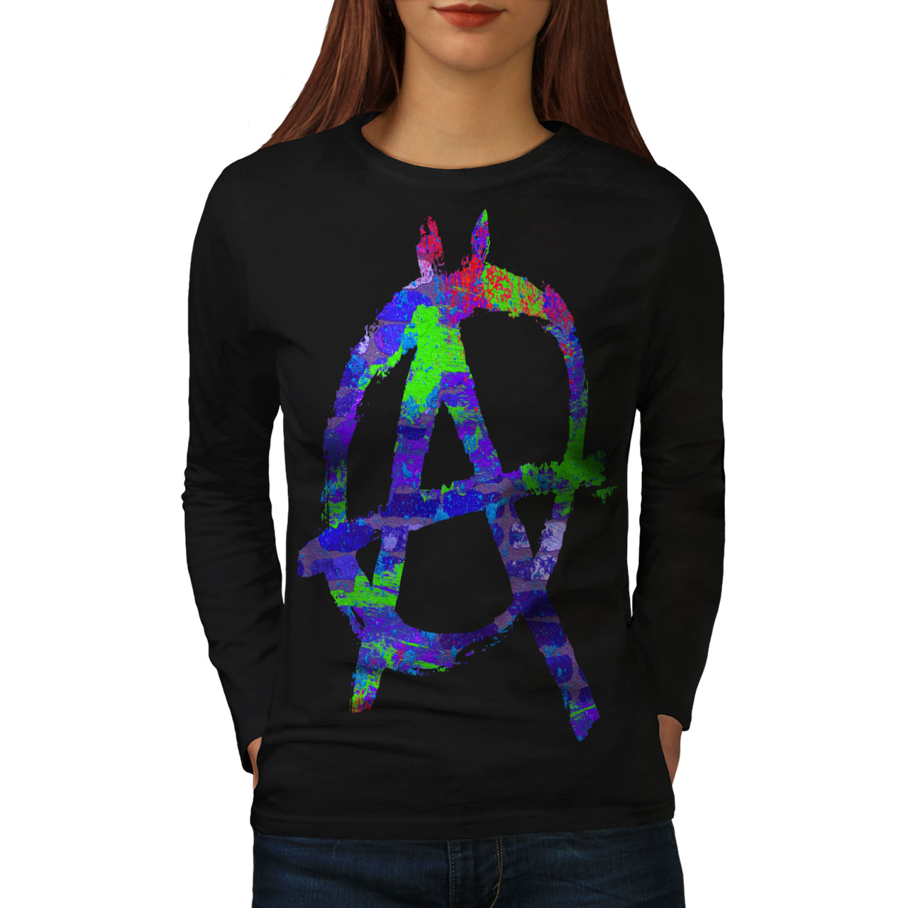 Wellcoda Resistance Protest Mens Long Sleeve T-shirt Anarchy Graphic Design