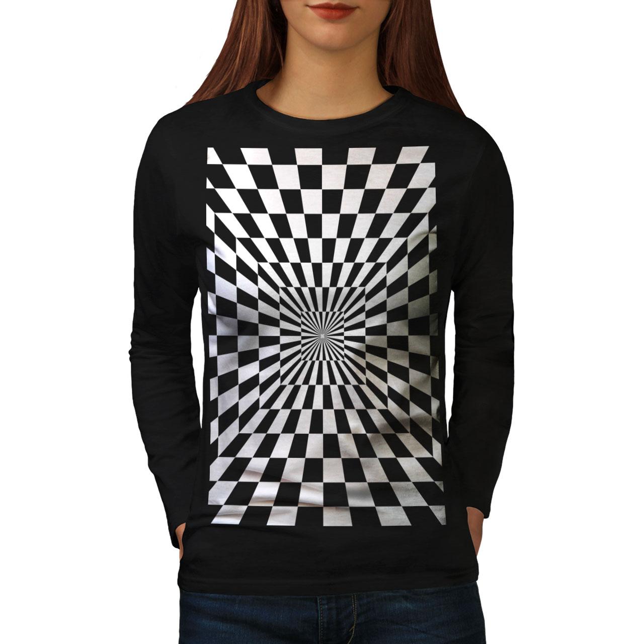 Square Illusion Motif Femmes T-shirt à manches longues Nouveauwellcoda