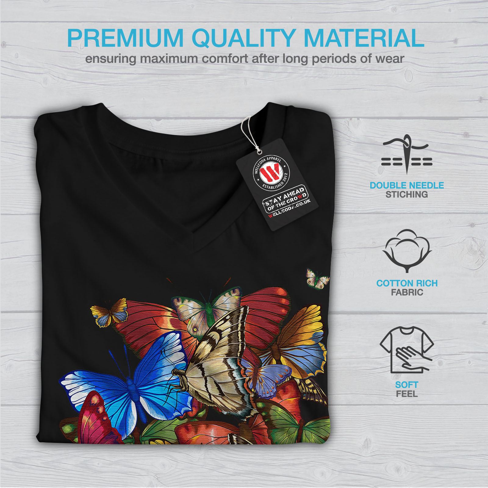 Wellcoda-Colorful-Butterfly-Womens-V-Neck-T-shirt-Freedom-Graphic-Design-Tee thumbnail 5