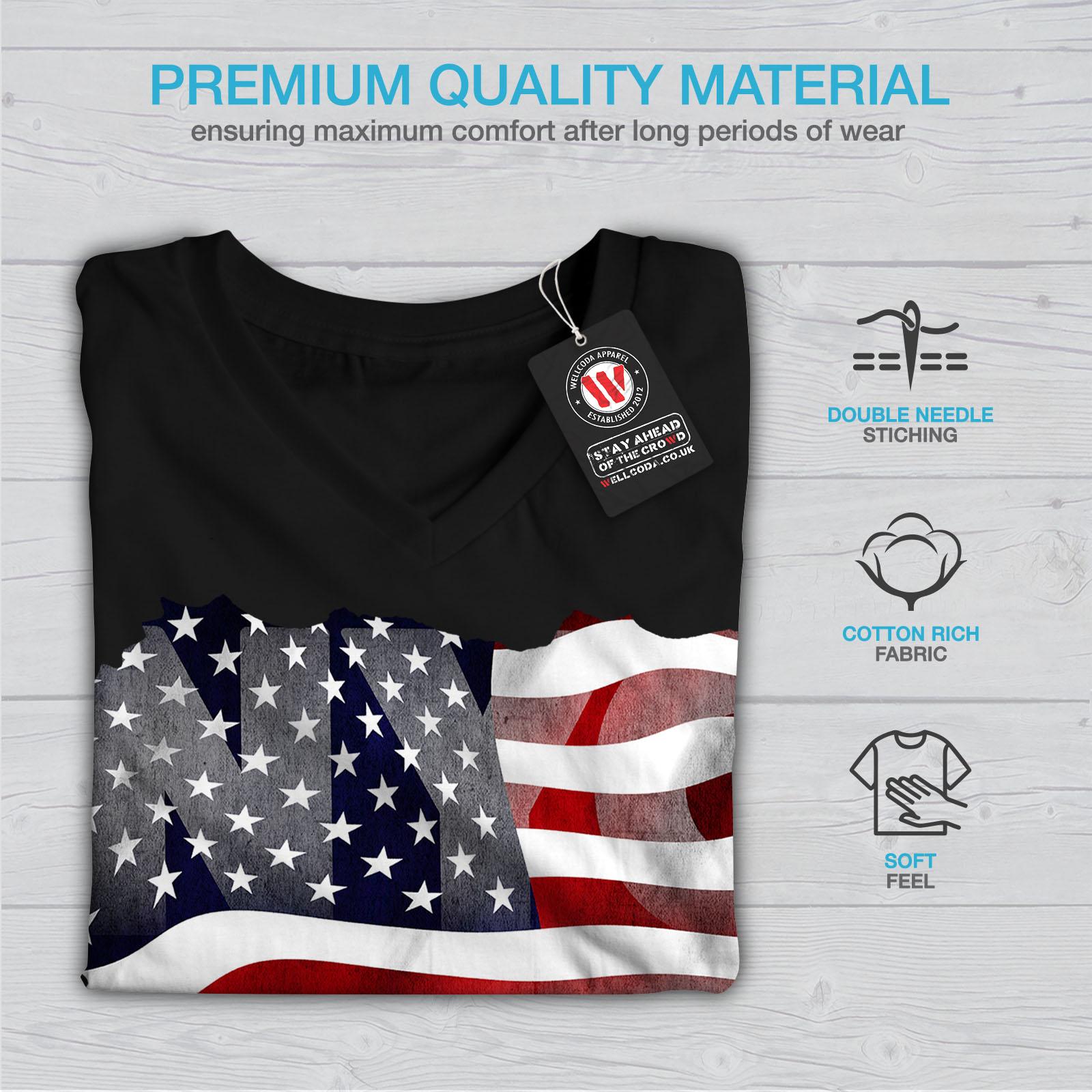Wellcoda-New-York-City-Flag-Womens-V-Neck-T-shirt-NY-Graphic-Design-Tee thumbnail 5