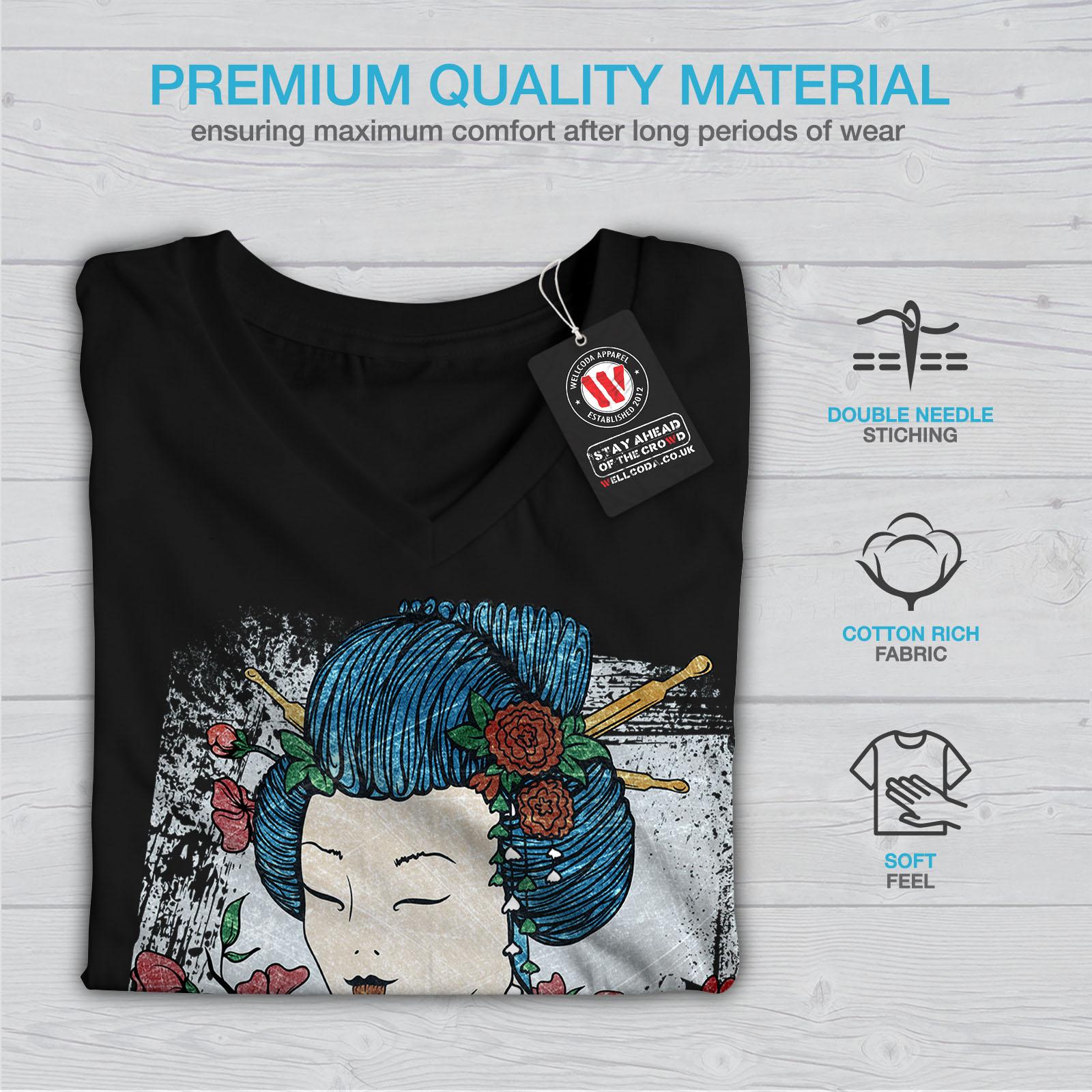 Wellcoda-Japan-Woman-Beauty-Womens-V-Neck-T-shirt-Oriental-Graphic-Design-Tee thumbnail 5
