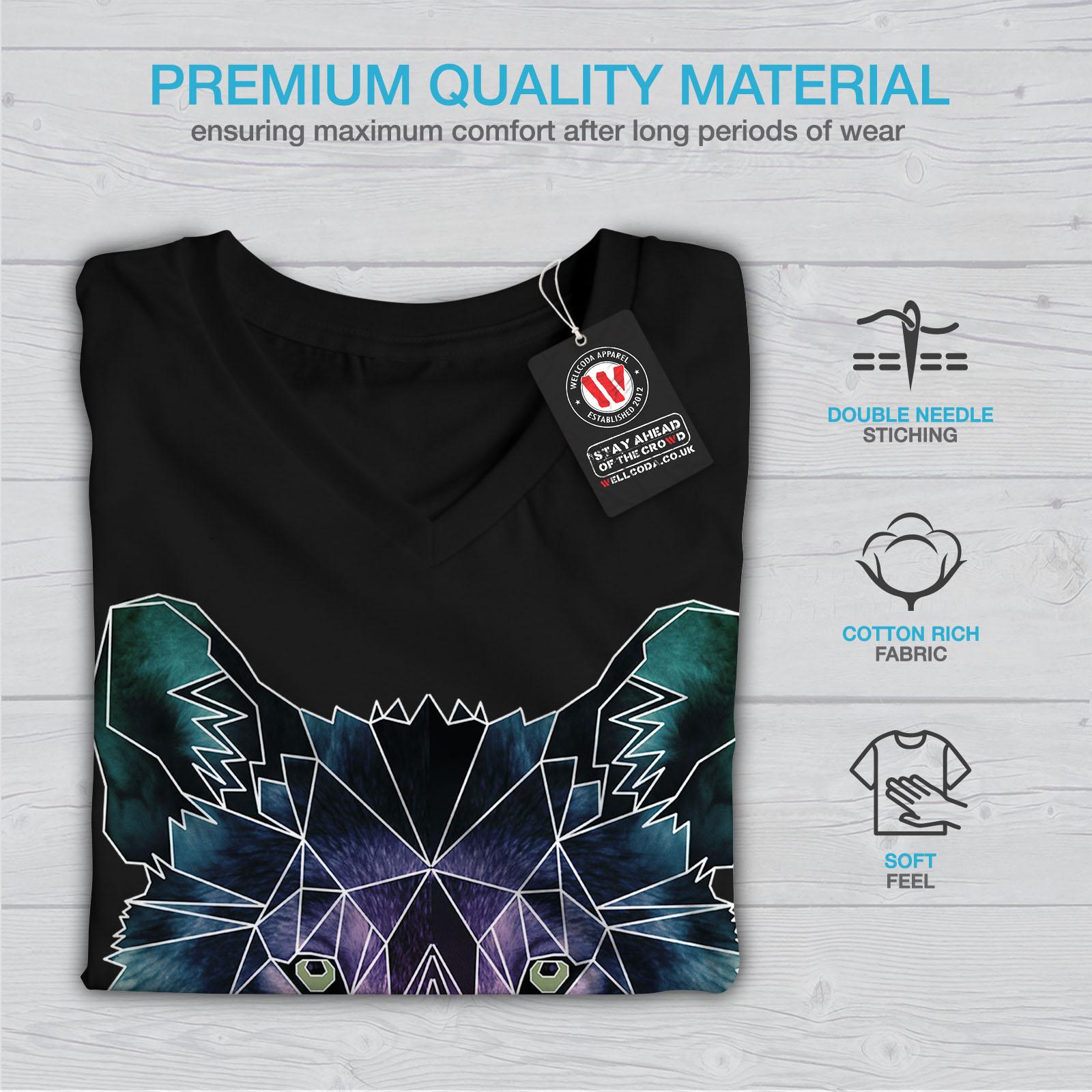 Wellcoda-Psychodelic-Wolf-Womens-V-Neck-T-shirt-Crystal-Graphic-Design-Tee thumbnail 5
