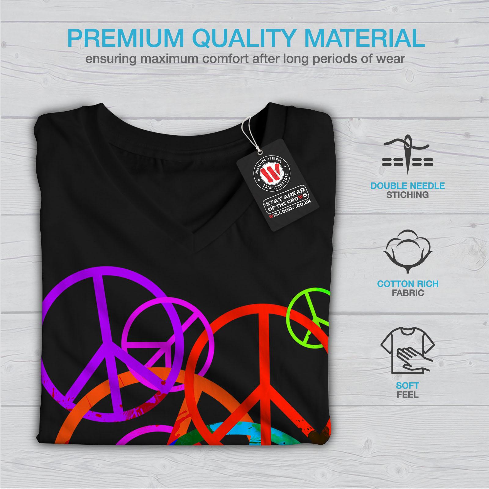 Wellcoda-solo-amore-e-Peace-Da-Donna-V-Neck-T-shirt-Hippie-Graphic-Design-Tee miniatura 5