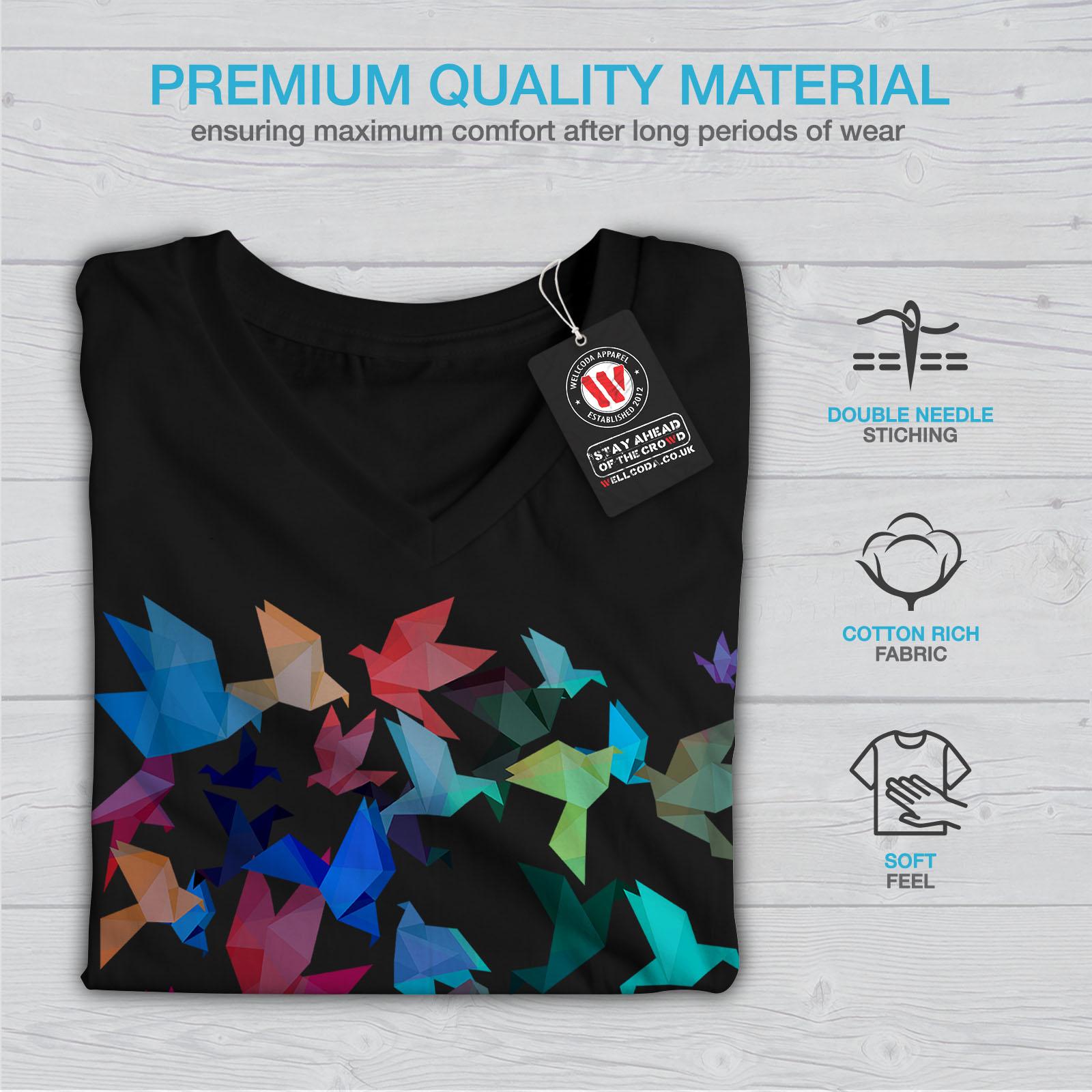 Wellcoda-Origami-Bird-Colors-Womens-V-Neck-T-shirt-Craft-Graphic-Design-Tee thumbnail 5