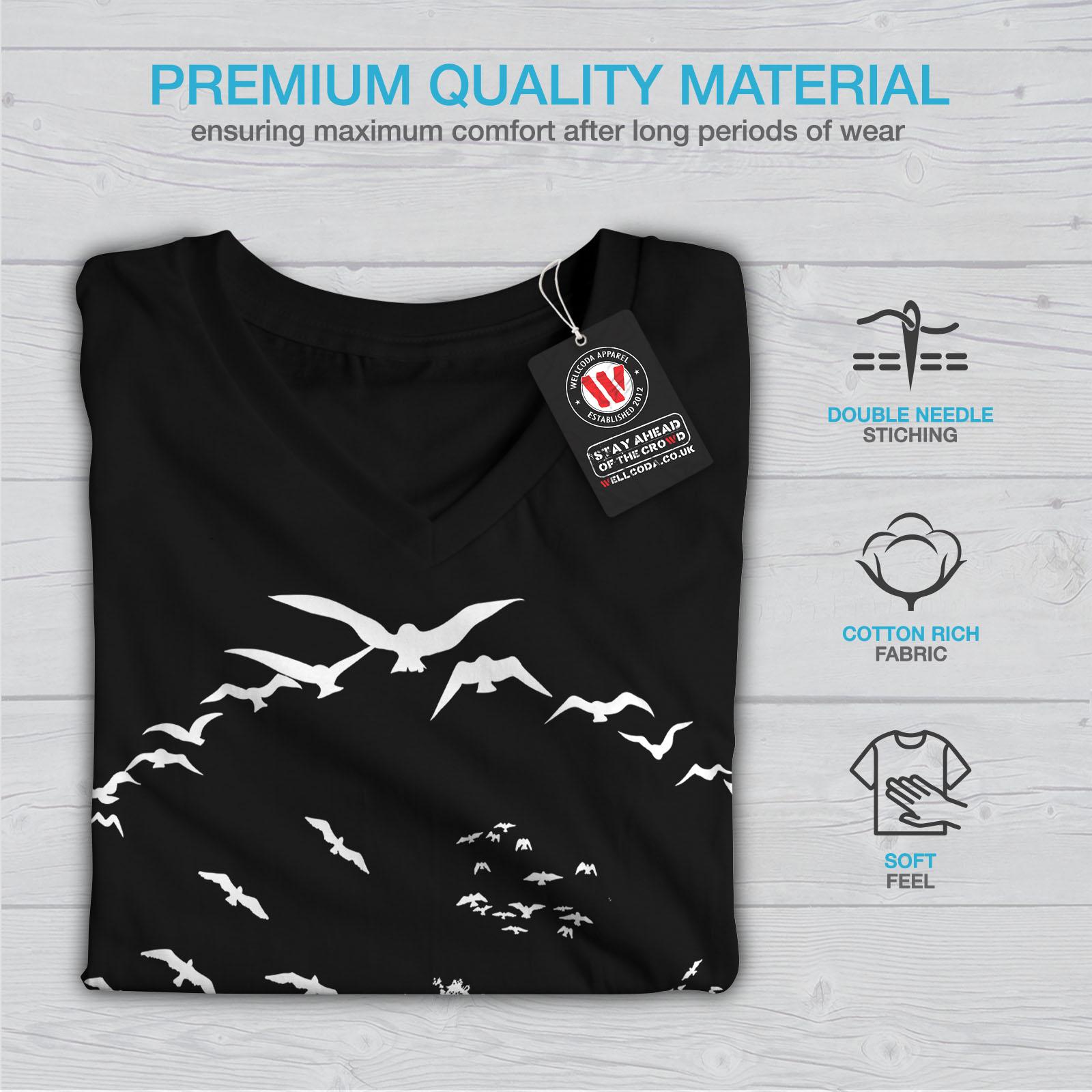 thumbnail 5 - Wellcoda-Bird-Freedom-Fly-Womens-V-Neck-T-shirt-Nature-Graphic-Design-Tee