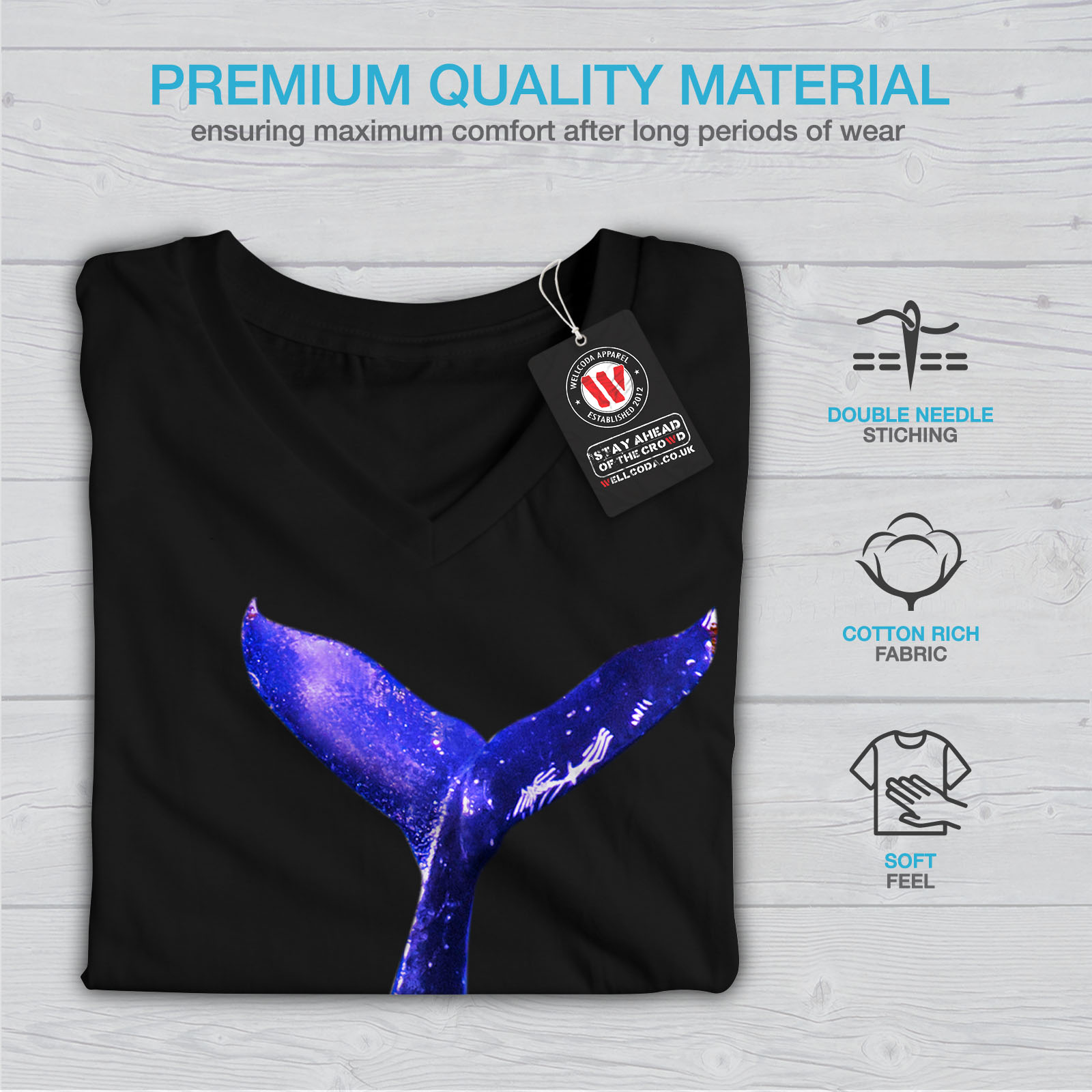 Wellcoda baleine bleue Plongée Femme T-Shirt col V mer conception graphique Tee