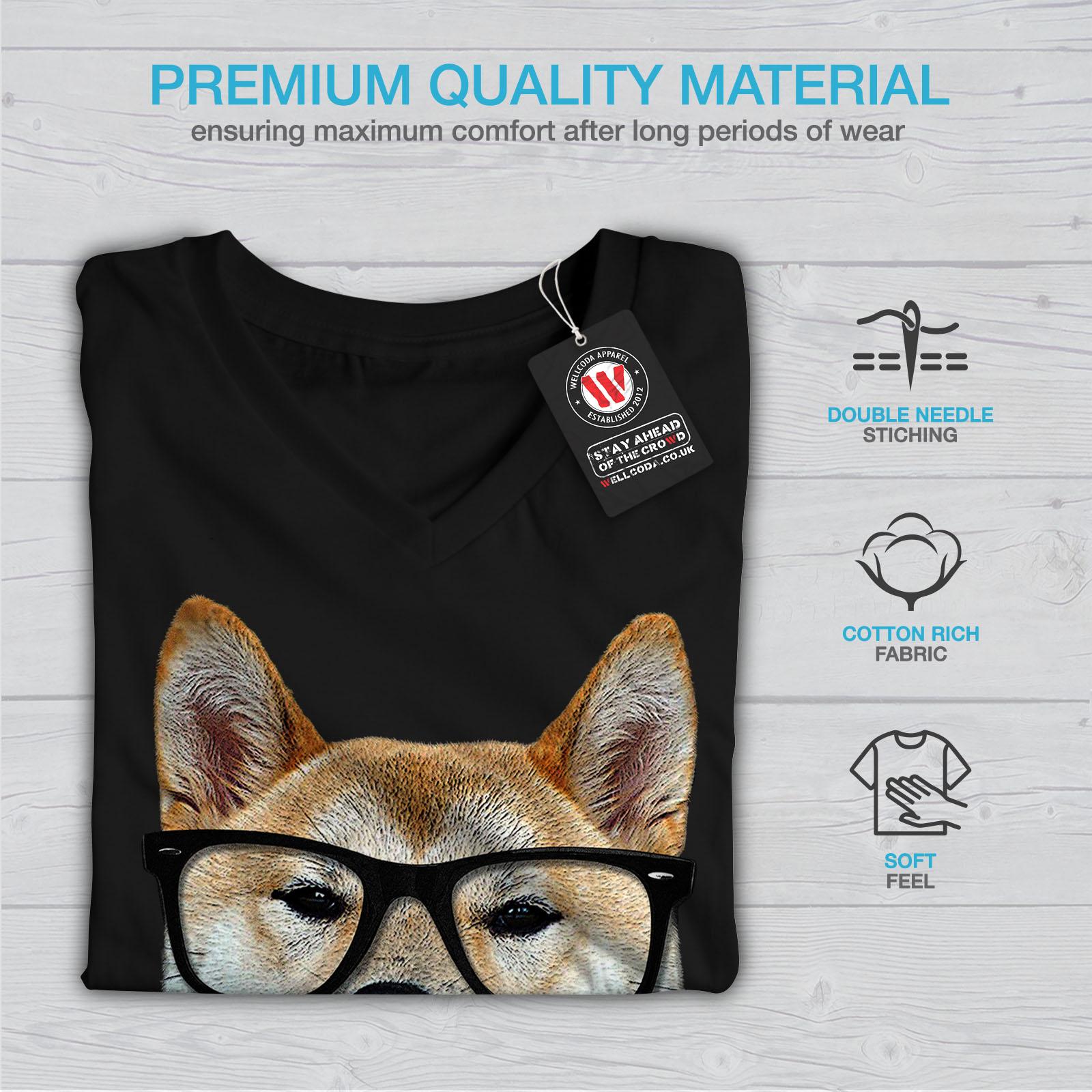 Wellcoda Smart Shiba Inu Dog Womens V-Neck T-shirt Sharp Graphic Design Tee