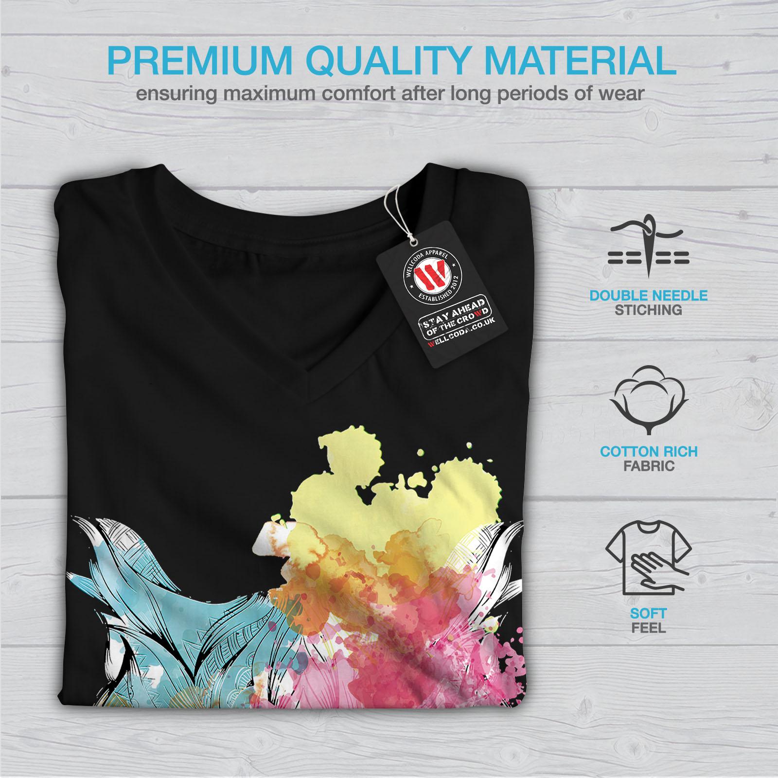 Wellcoda-Elegante-Owl-Bird-da-donna-V-Neck-T-shirt-bellissimo-design-Grafico-Tee miniatura 5