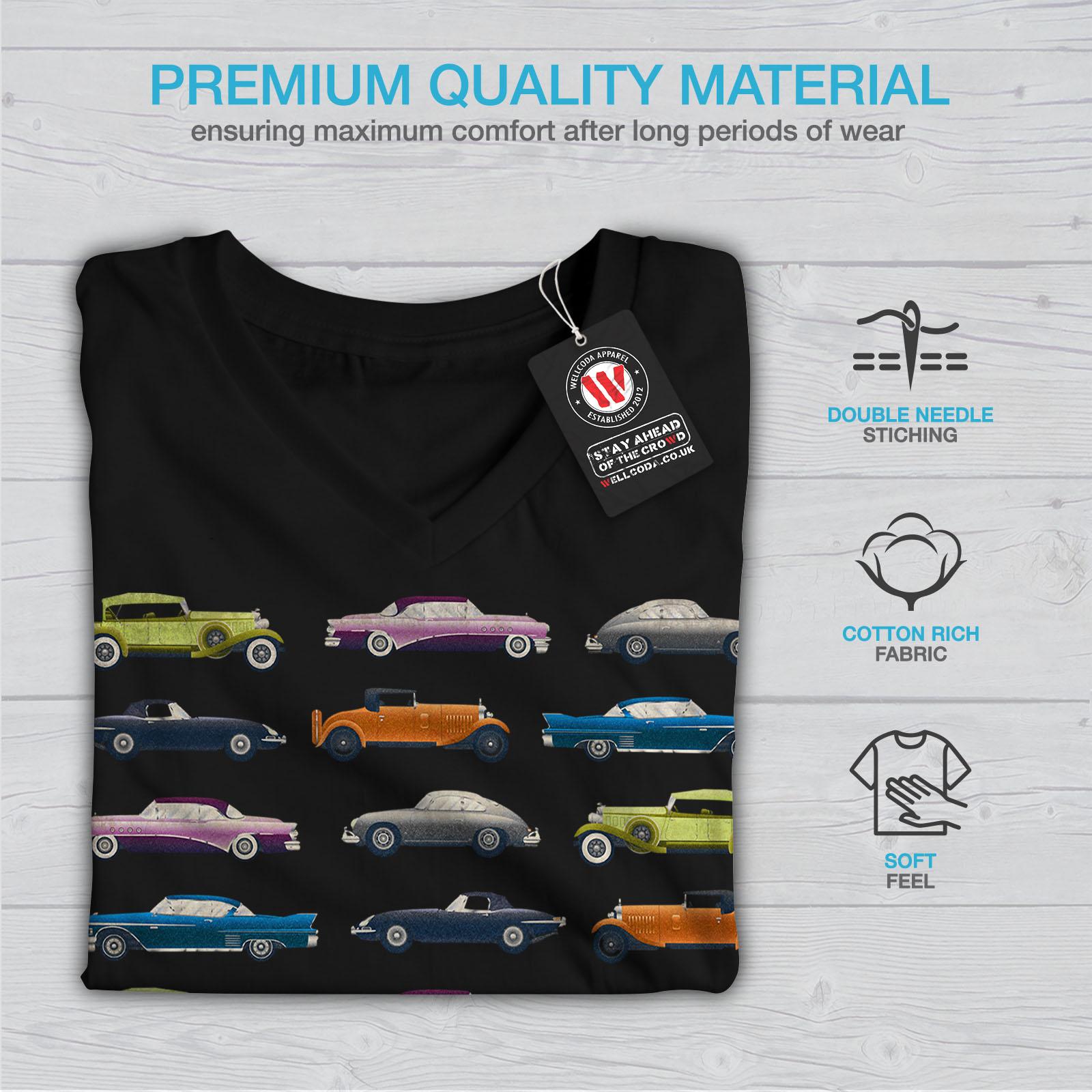 Wellcoda-Classic-Old-Pattern-Car-Womens-V-Neck-T-shirt-Retro-Graphic-Design-Tee thumbnail 5