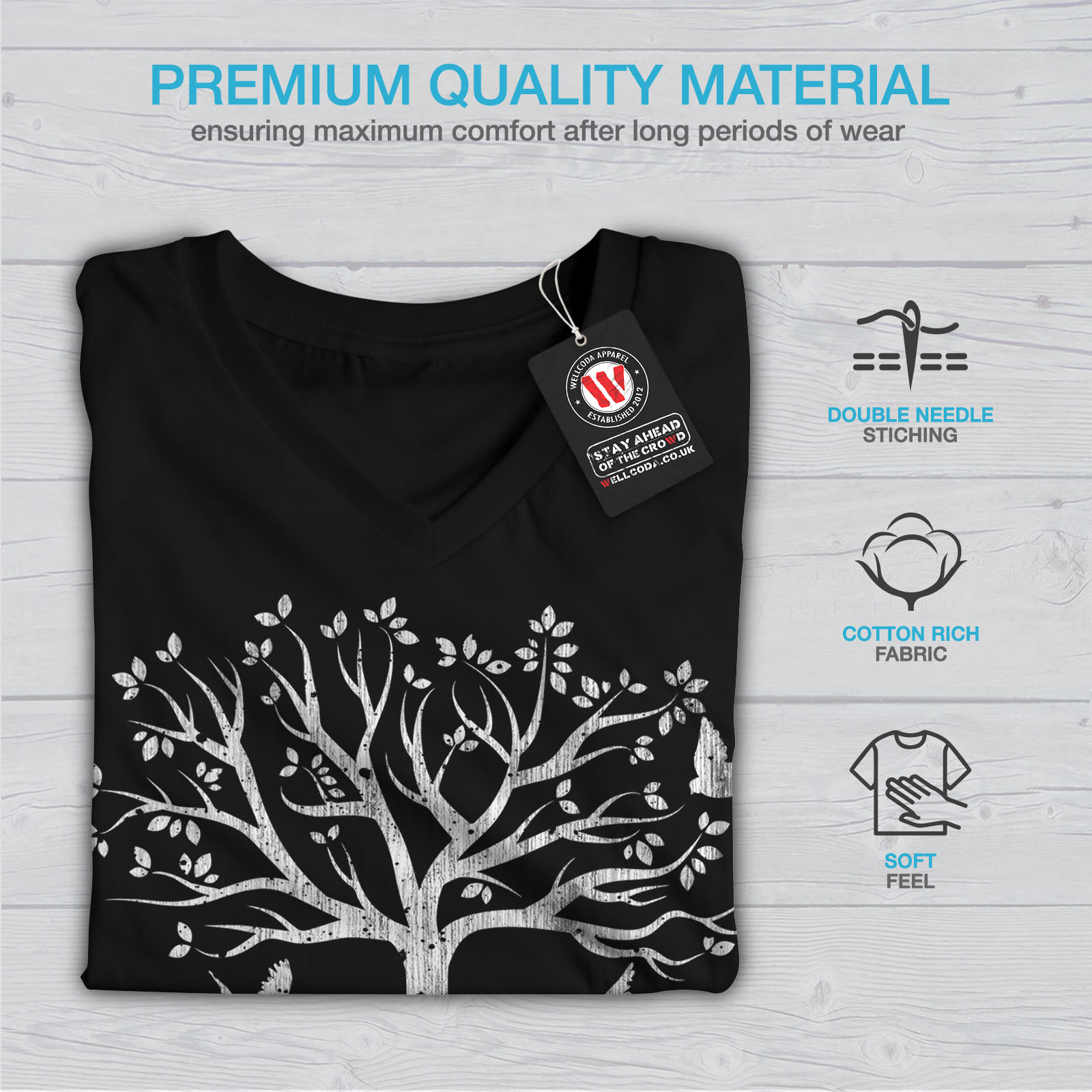 Wellcoda-Guitar-Music-Tree-Womens-V-Neck-T-shirt-Life-Graphic-Design-Tee thumbnail 5