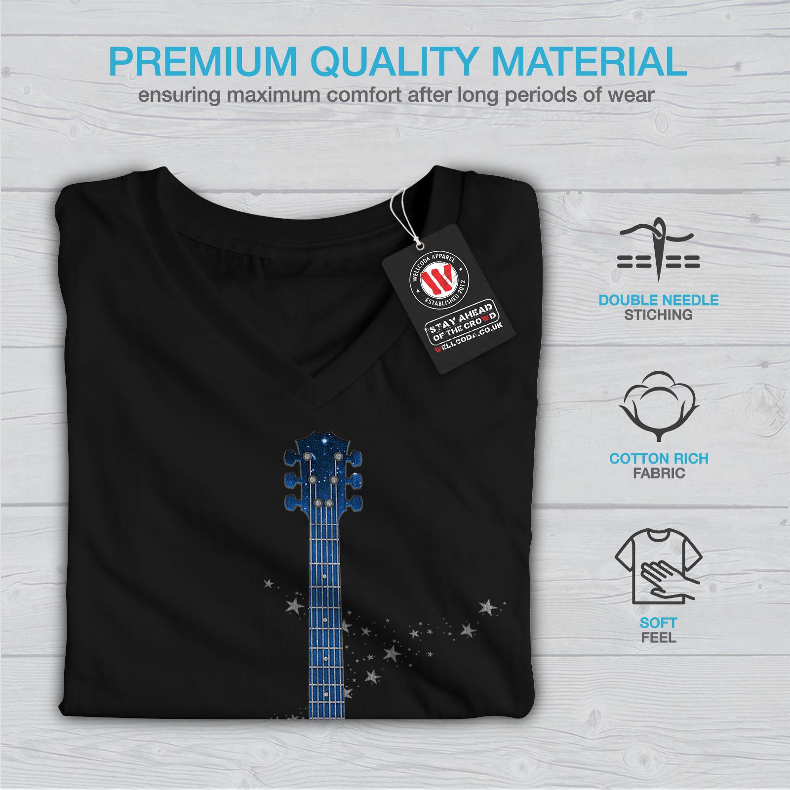 Wellcoda-Guitar-Planet-Earth-Womens-V-Neck-T-shirt-Rock-Graphic-Design-Tee thumbnail 5