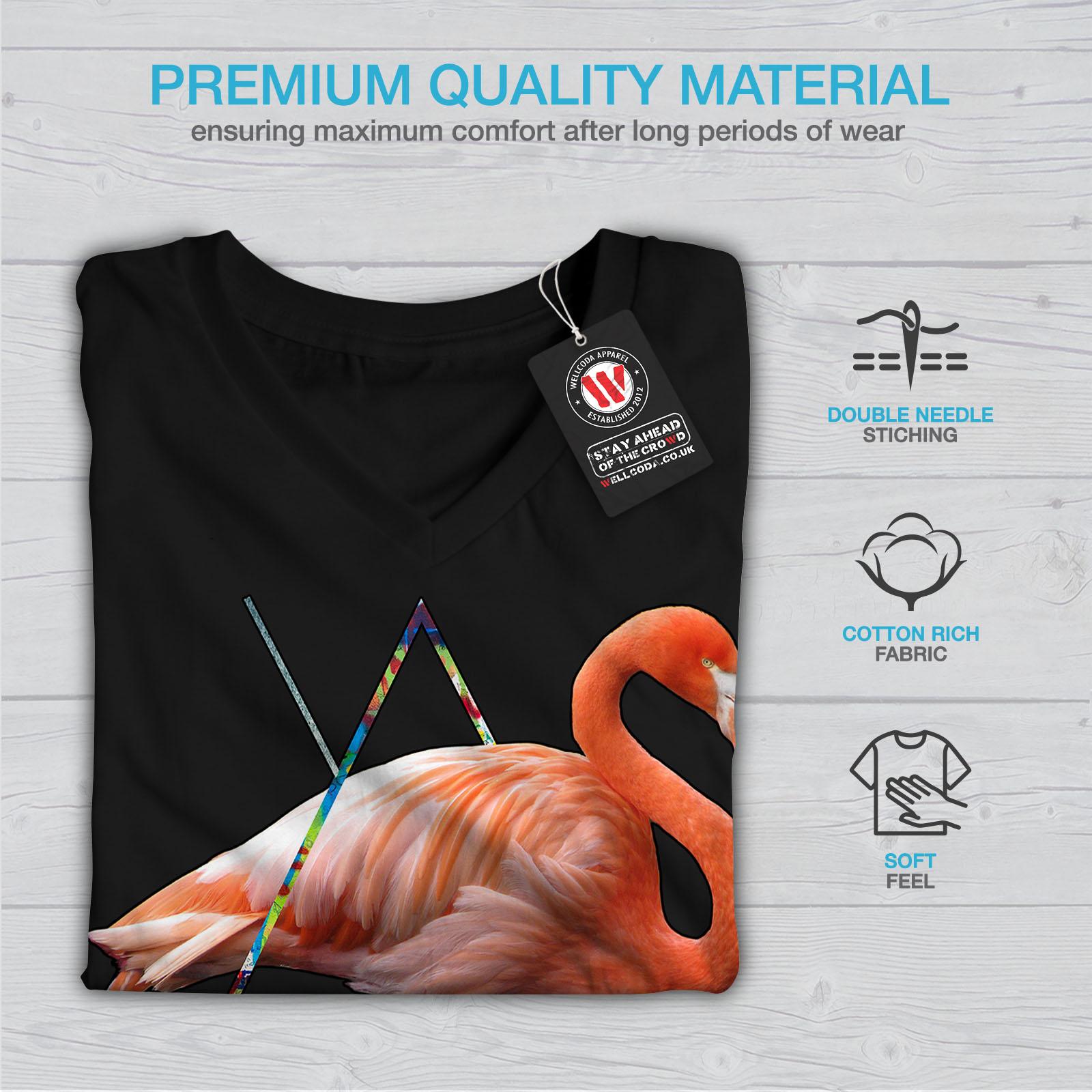 Wellcoda-Flamingo-Bird-Shoe-Womens-V-Neck-T-shirt-Sneaker-Graphic-Design-Tee thumbnail 5