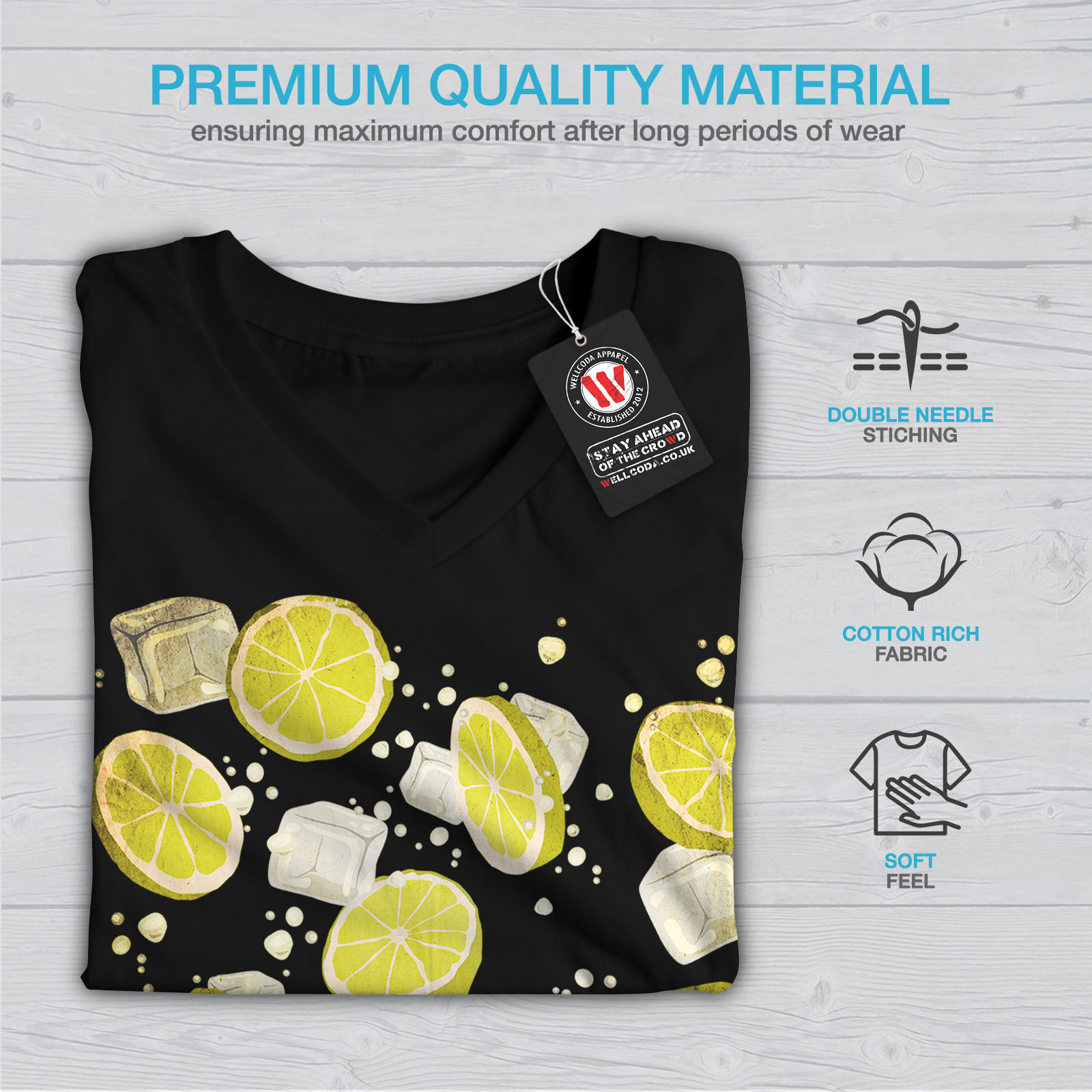 Summer Joy Citron Holiday Femmes T-Shirt col V nouveauwellcoda