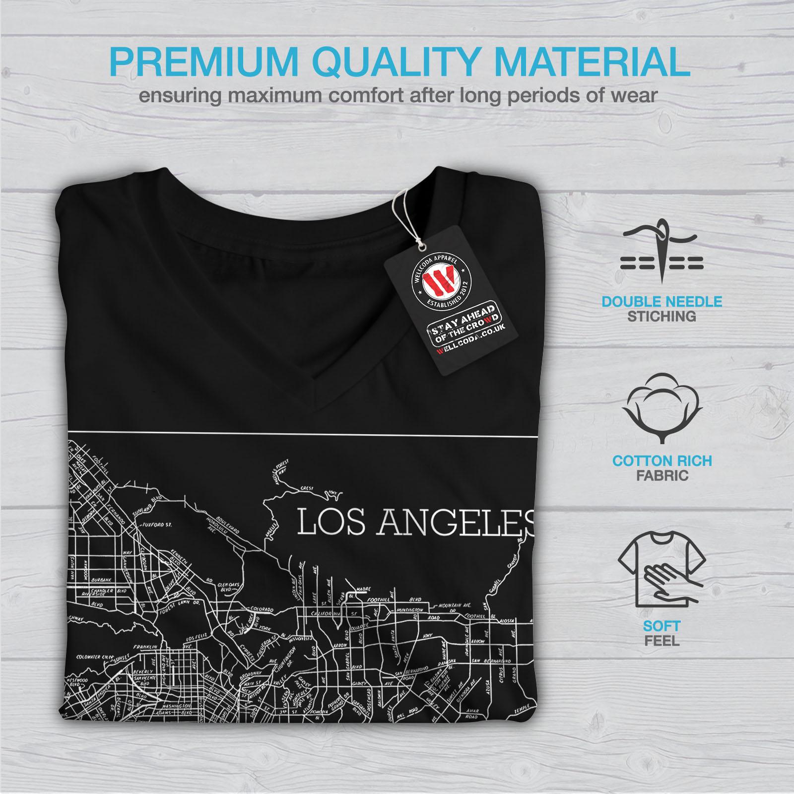Wellcoda-Los-Angeles-Map-Fashion-Womens-V-Neck-T-shirt-Town-Graphic-Design-Tee thumbnail 5