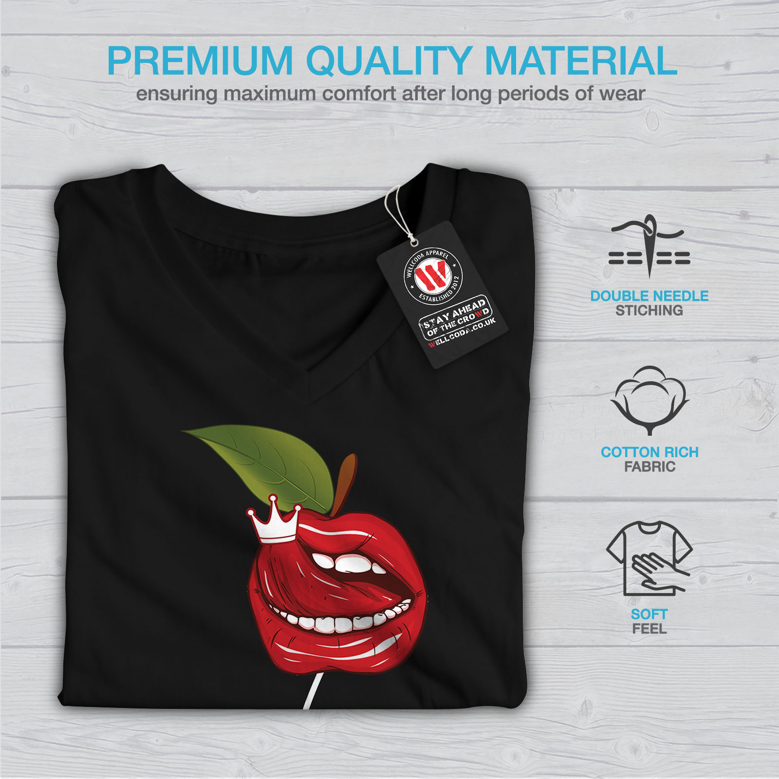 Wellcoda-Lip-Cherry-Cool-Womens-V-Neck-T-shirt-Rock-amp-Roll-Graphic-Design-Tee thumbnail 5