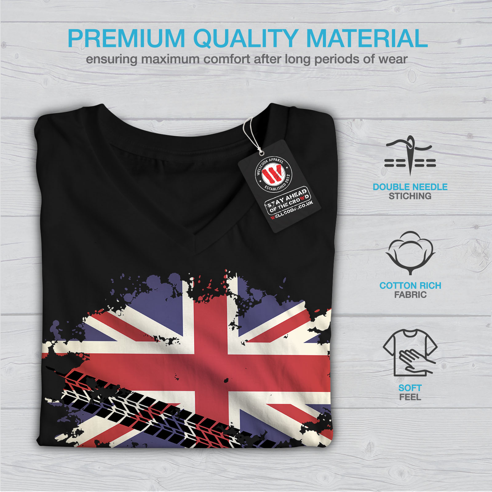 Wellcoda-Union-Jack-Drapeau-Femme-T-Shirt-col-V-la-Grande-Bretagne-conception-graphique-Tee miniature 5