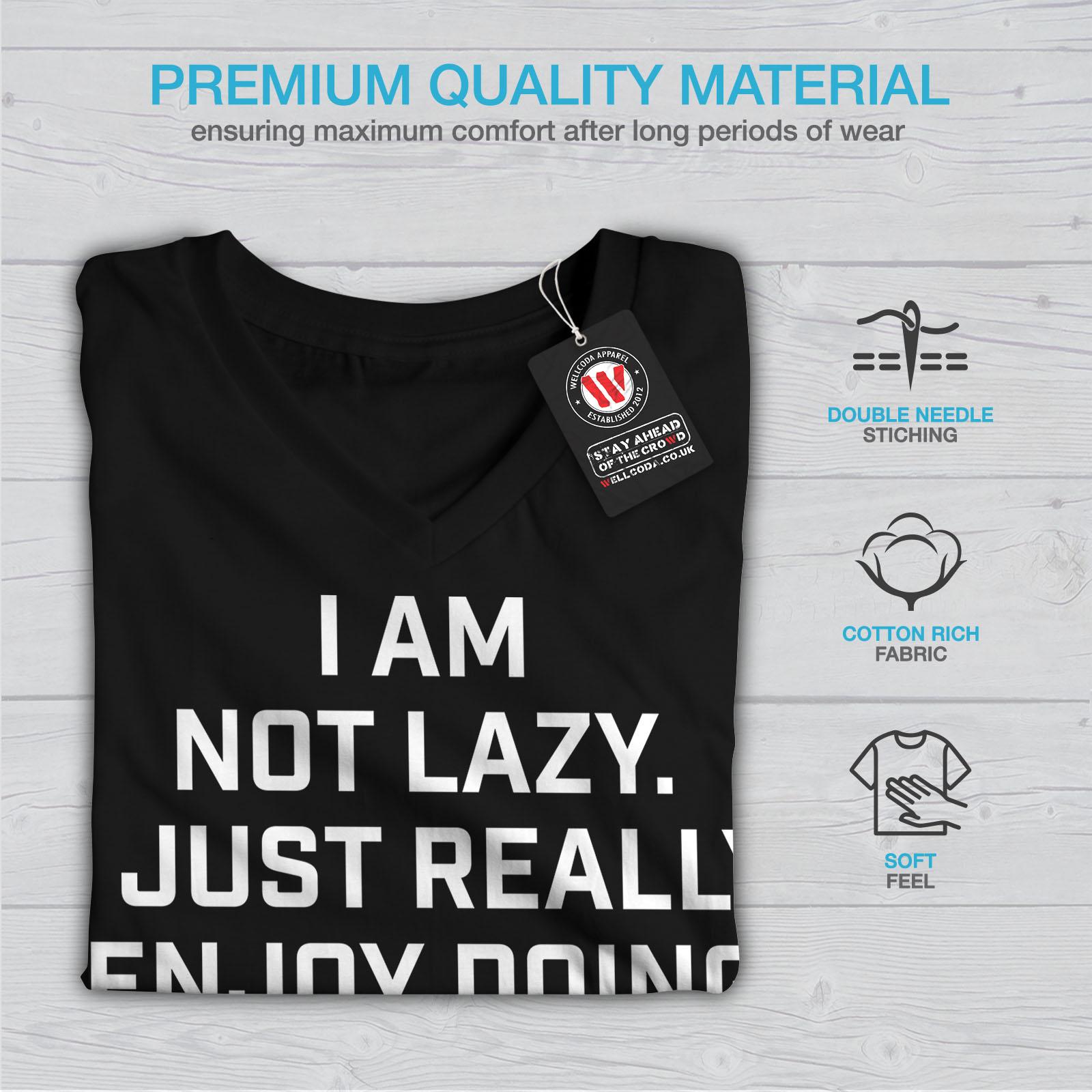 Wellcoda-Sloth-Lazy-Joke-Funny-Womens-V-Neck-T-shirt-Monkey-Graphic-Design-Tee thumbnail 5