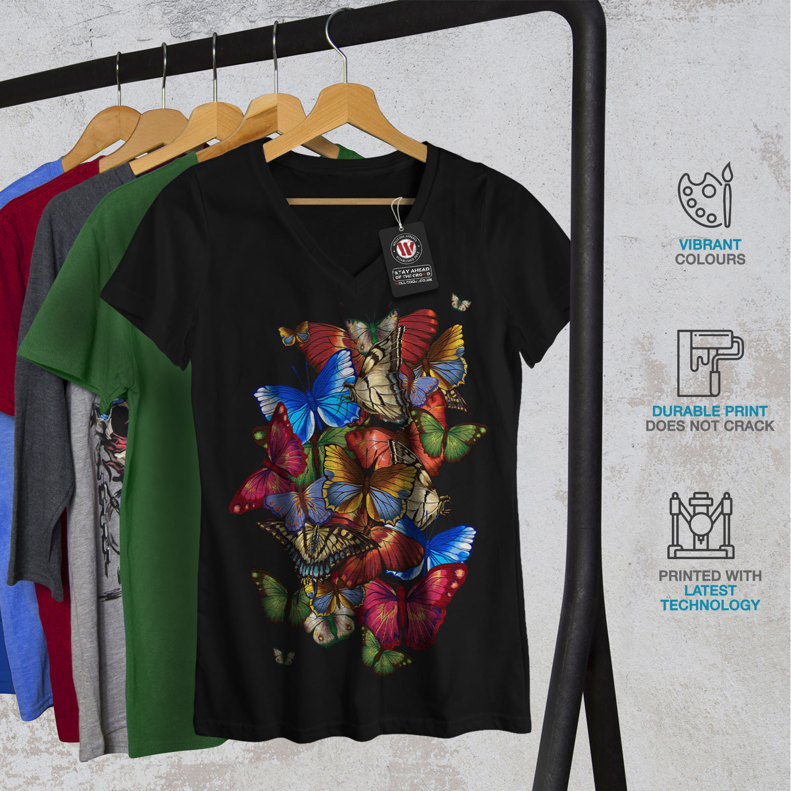 Wellcoda-Colorful-Butterfly-Womens-V-Neck-T-shirt-Freedom-Graphic-Design-Tee thumbnail 4