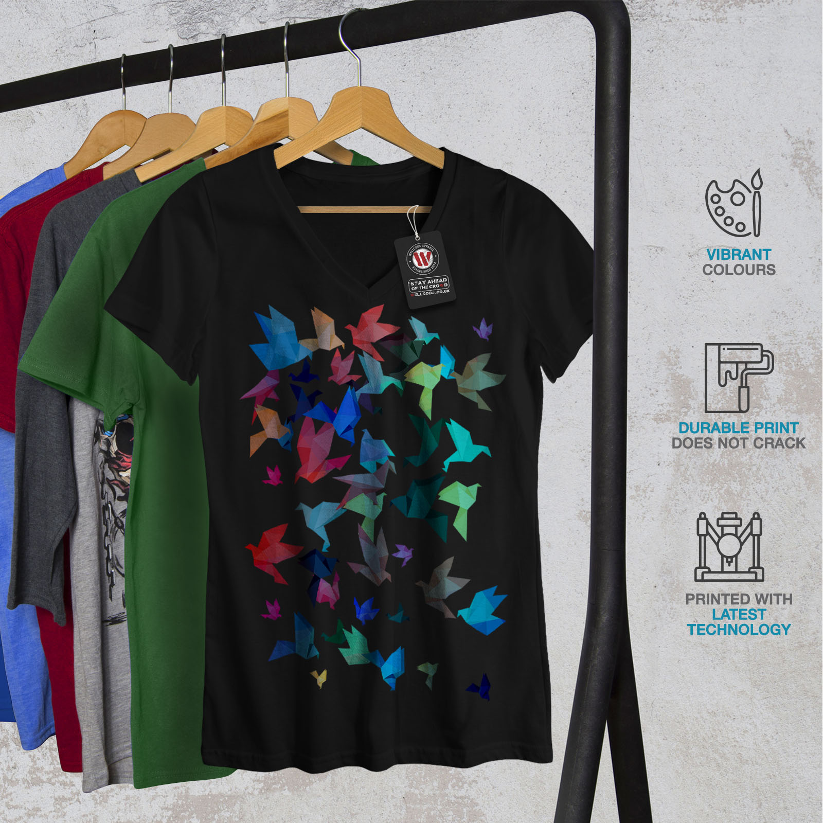 Wellcoda-Origami-Bird-Colors-Womens-V-Neck-T-shirt-Craft-Graphic-Design-Tee thumbnail 4