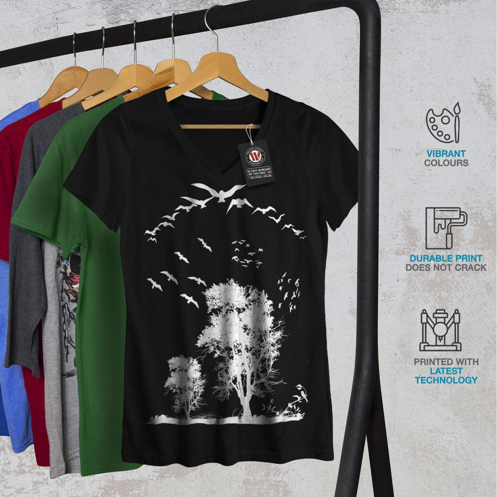 thumbnail 4 - Wellcoda-Bird-Freedom-Fly-Womens-V-Neck-T-shirt-Nature-Graphic-Design-Tee