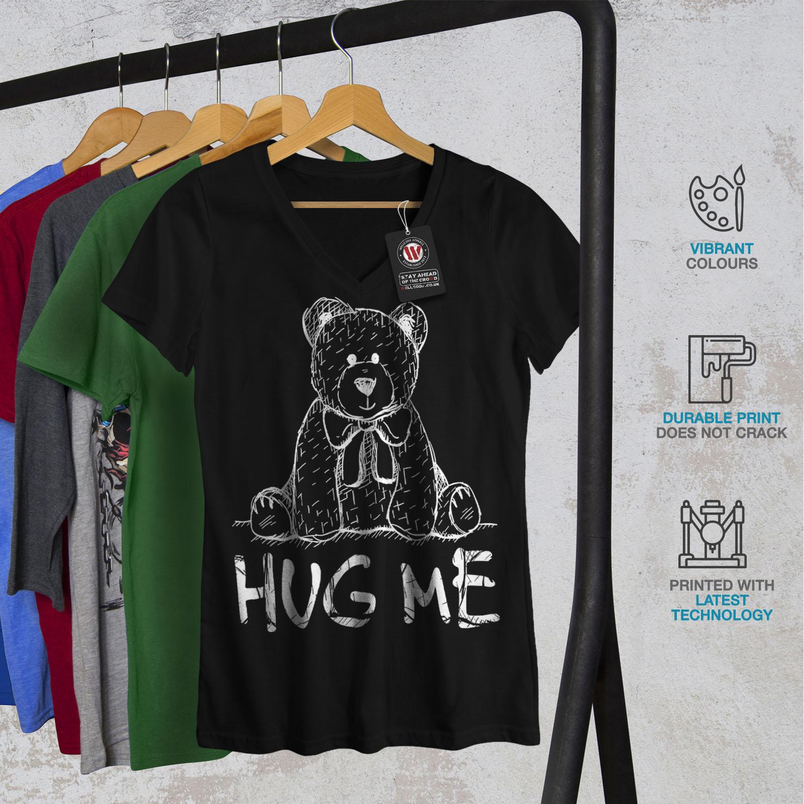 miniature 4 - Wellcoda Hug Me Teddy Bear Womens V-Neck T-shirt, Nice & Graphic Design Tee
