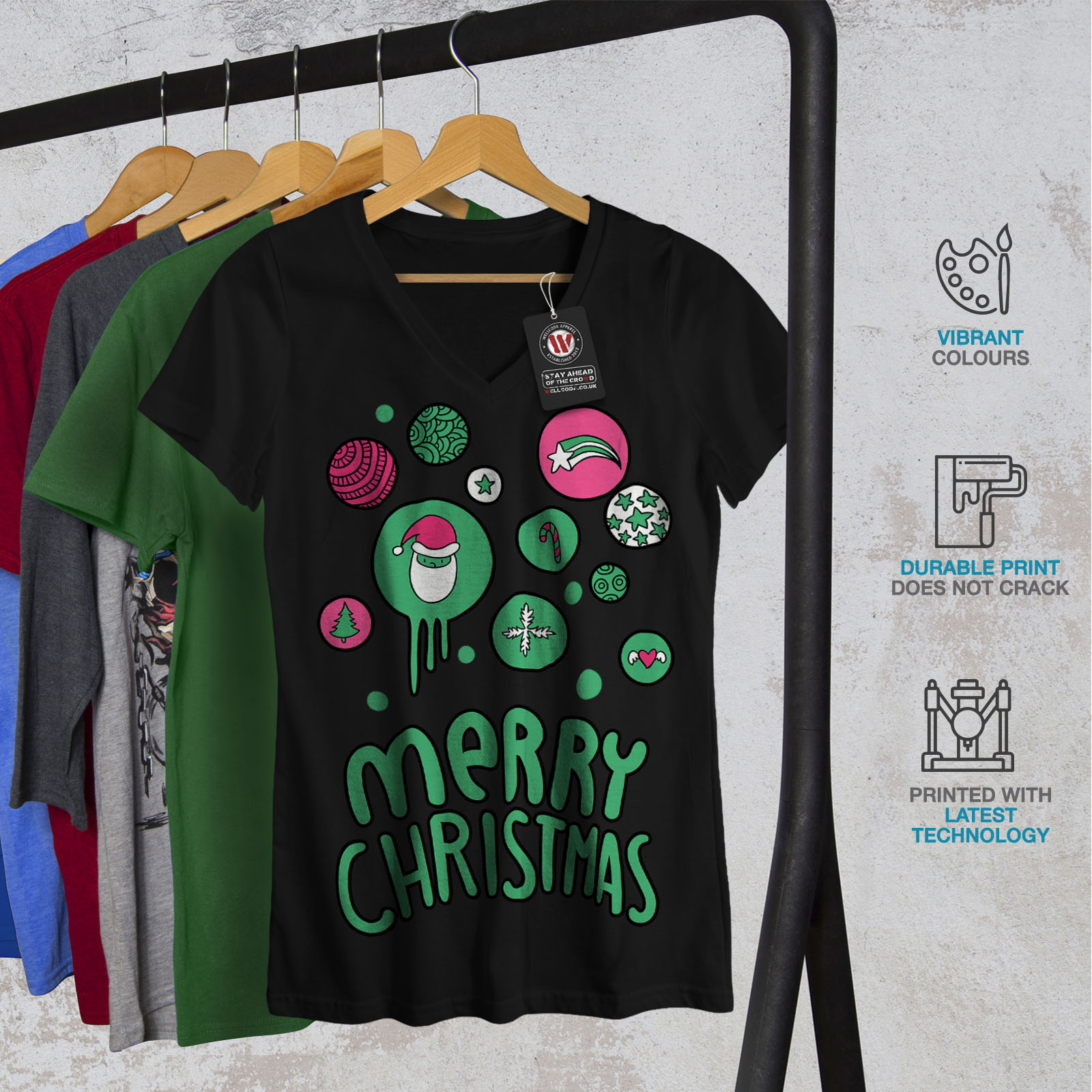 Wellcoda-Merry-Christmas-Fun-Womens-V-Neck-T-shirt-Holiday-Graphic-Design-Tee thumbnail 4