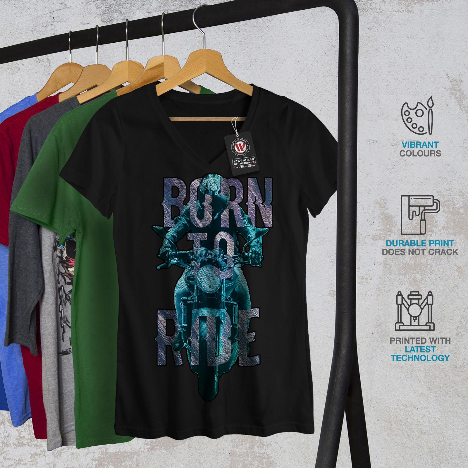 Wellcoda-Born-to-Ride-In-Metallo-Da-Donna-V-Neck-T-shirt-MOTORCYCLE-Design-Grafico-Tee miniatura 4