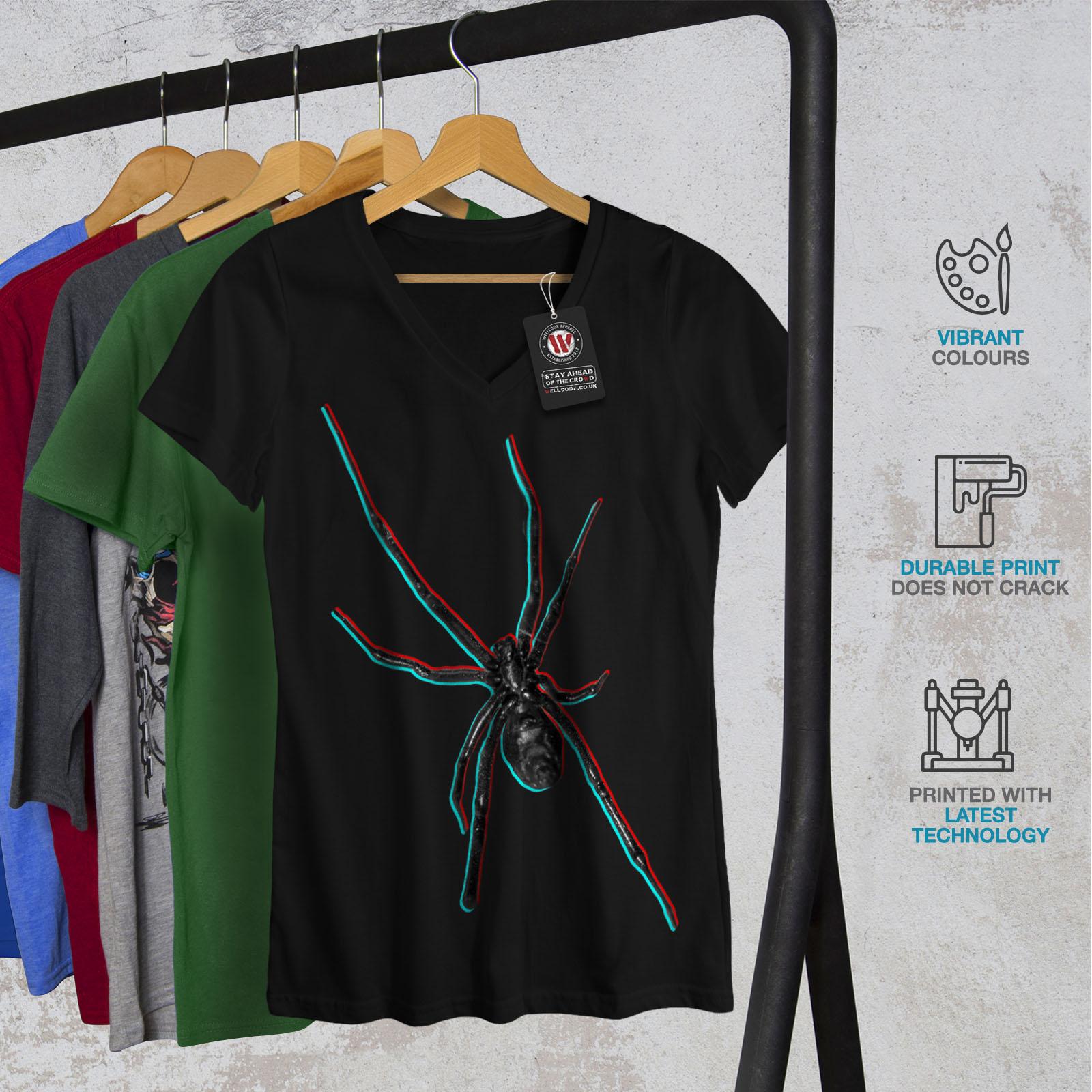 Wellcoda Spider Web Spiral Womens V-Neck T-shirt Spider Graphic Design Tee