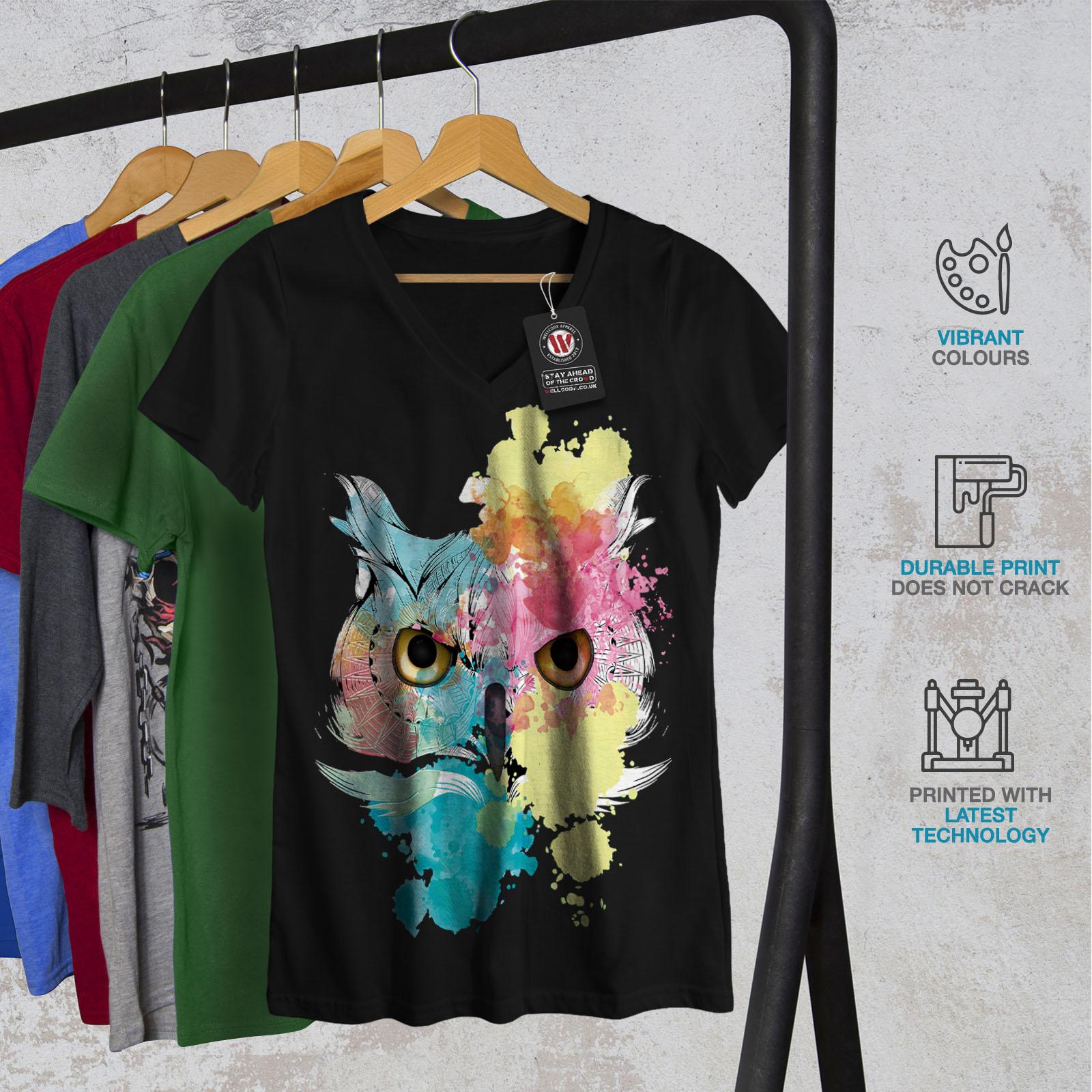 Wellcoda-Elegante-Owl-Bird-da-donna-V-Neck-T-shirt-bellissimo-design-Grafico-Tee miniatura 4