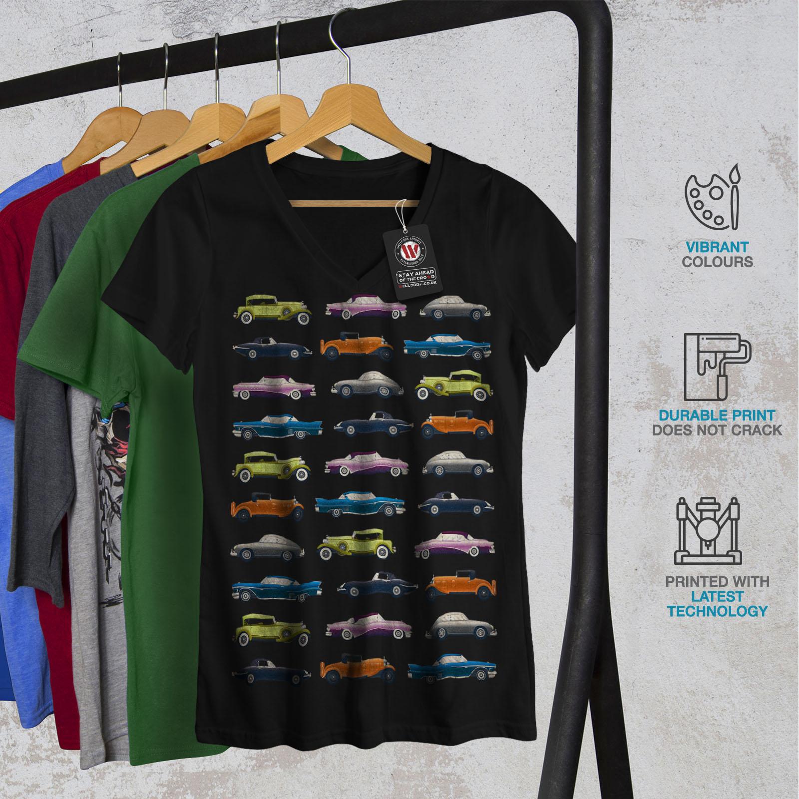 Wellcoda-Classic-Old-Pattern-Car-Womens-V-Neck-T-shirt-Retro-Graphic-Design-Tee thumbnail 4