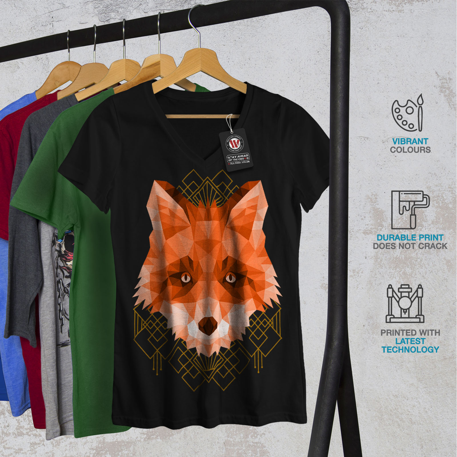 Wellcoda-Polygonal-Fire-Fox-Womens-V-Neck-T-shirt-Animal-Graphic-Design-Tee thumbnail 4