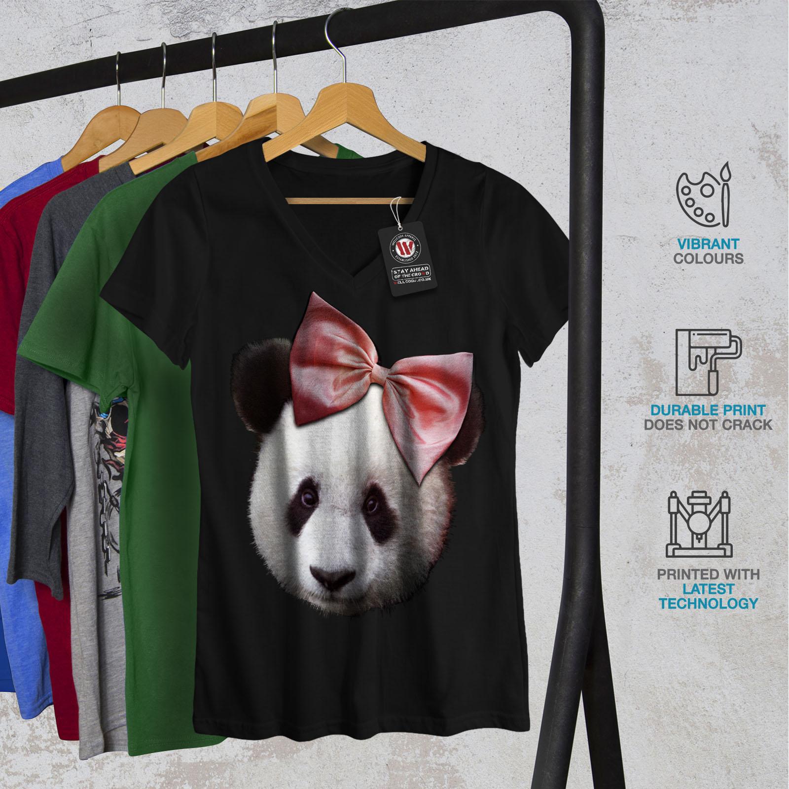 Wellcoda Panda Ribbon Cute Womens V Neck T shirt Cuteness