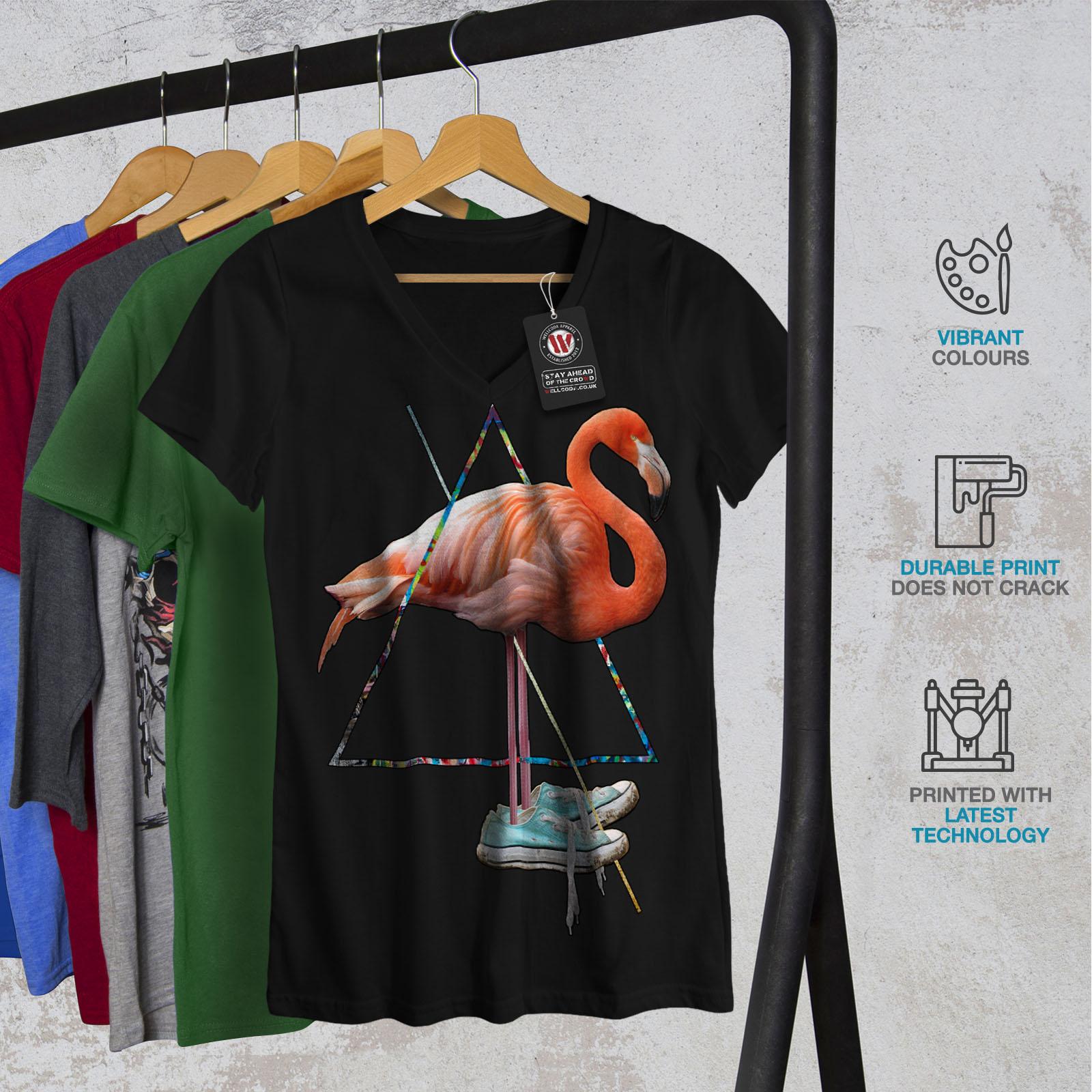 Wellcoda-Flamingo-Bird-Shoe-Womens-V-Neck-T-shirt-Sneaker-Graphic-Design-Tee thumbnail 4
