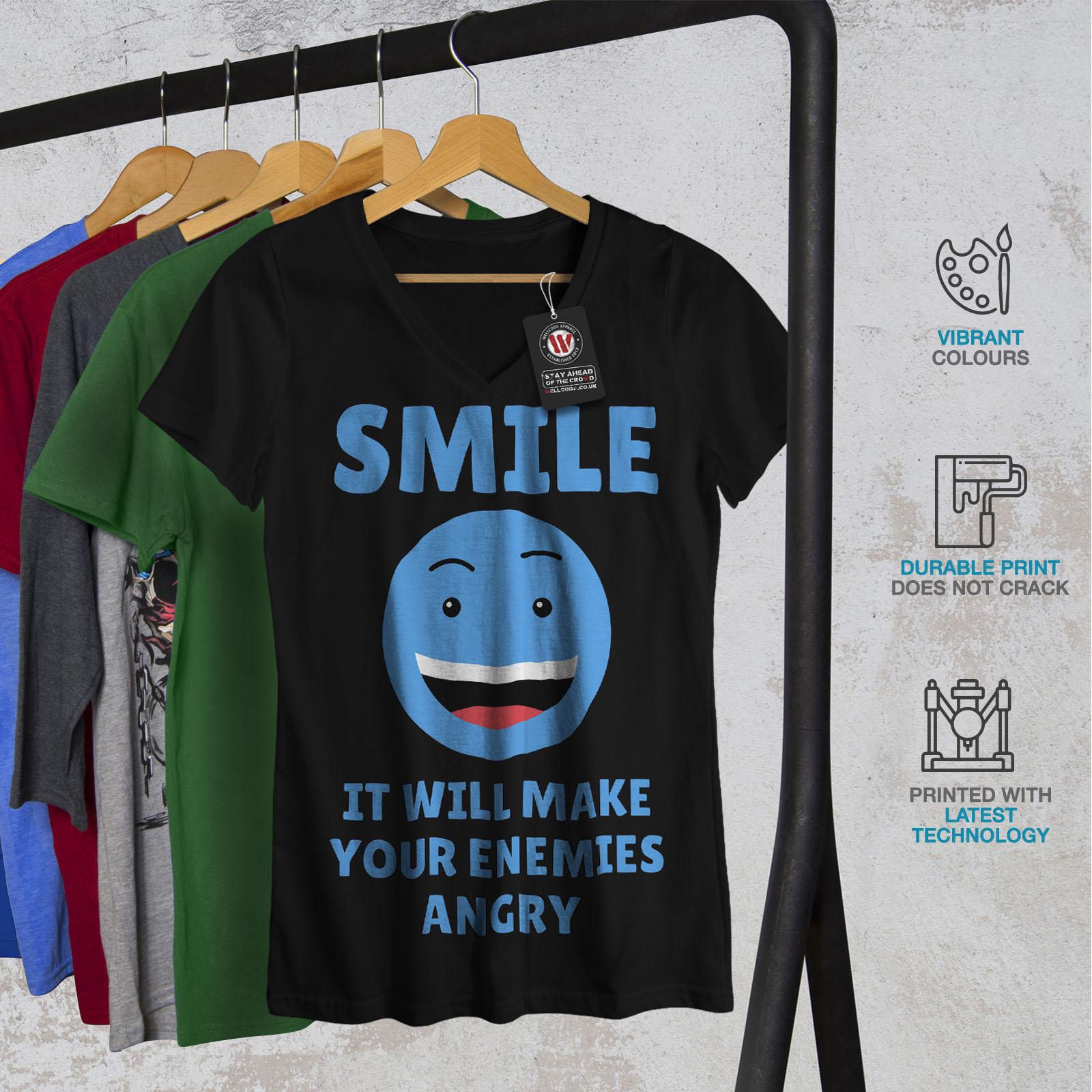 Wellcoda-Laecheln-Feinde-Angry-Damen-V-Ausschnitt-T-Shirt-Kampf-Grafikdesign-Tee Indexbild 4
