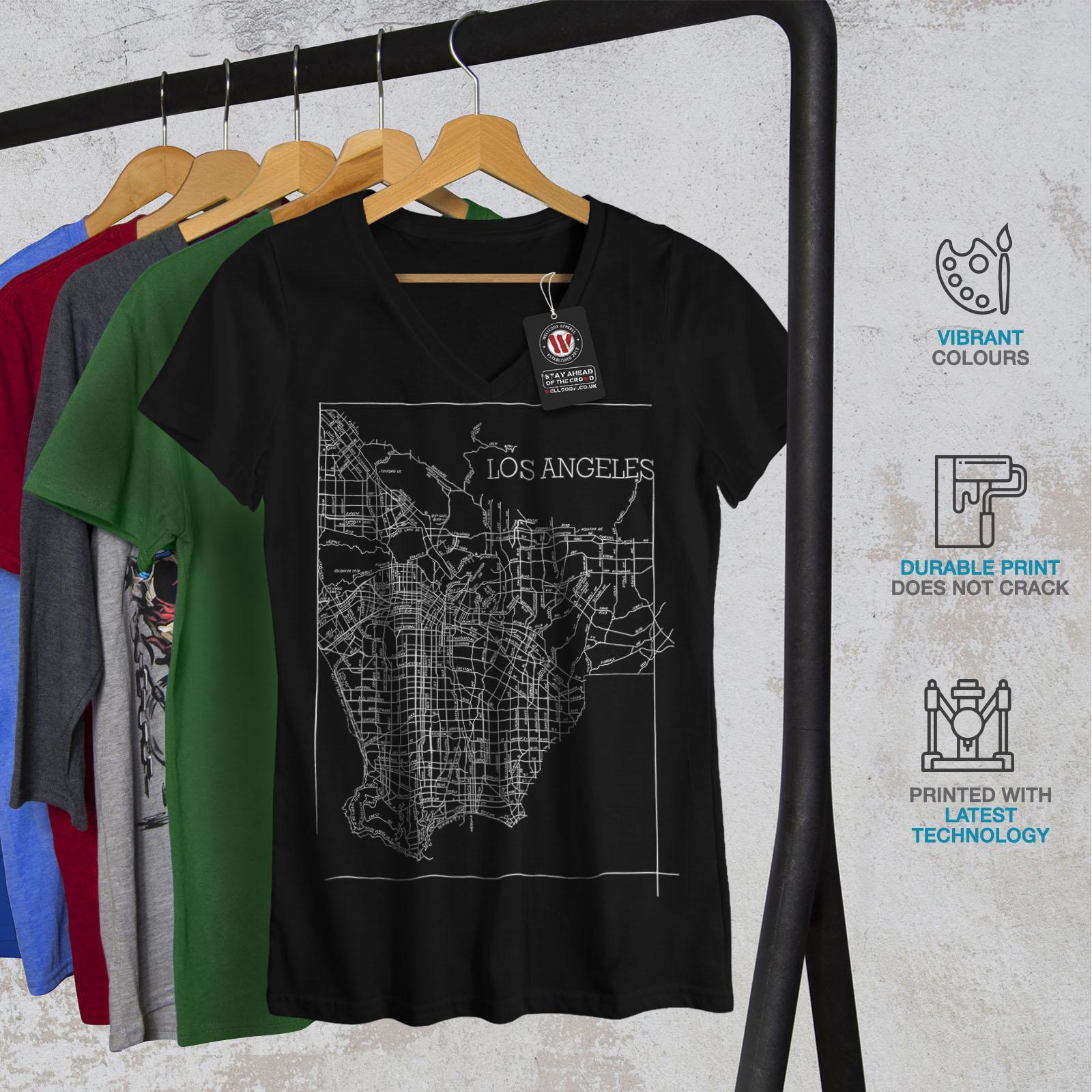 Wellcoda-Los-Angeles-Map-Fashion-Womens-V-Neck-T-shirt-Town-Graphic-Design-Tee thumbnail 4