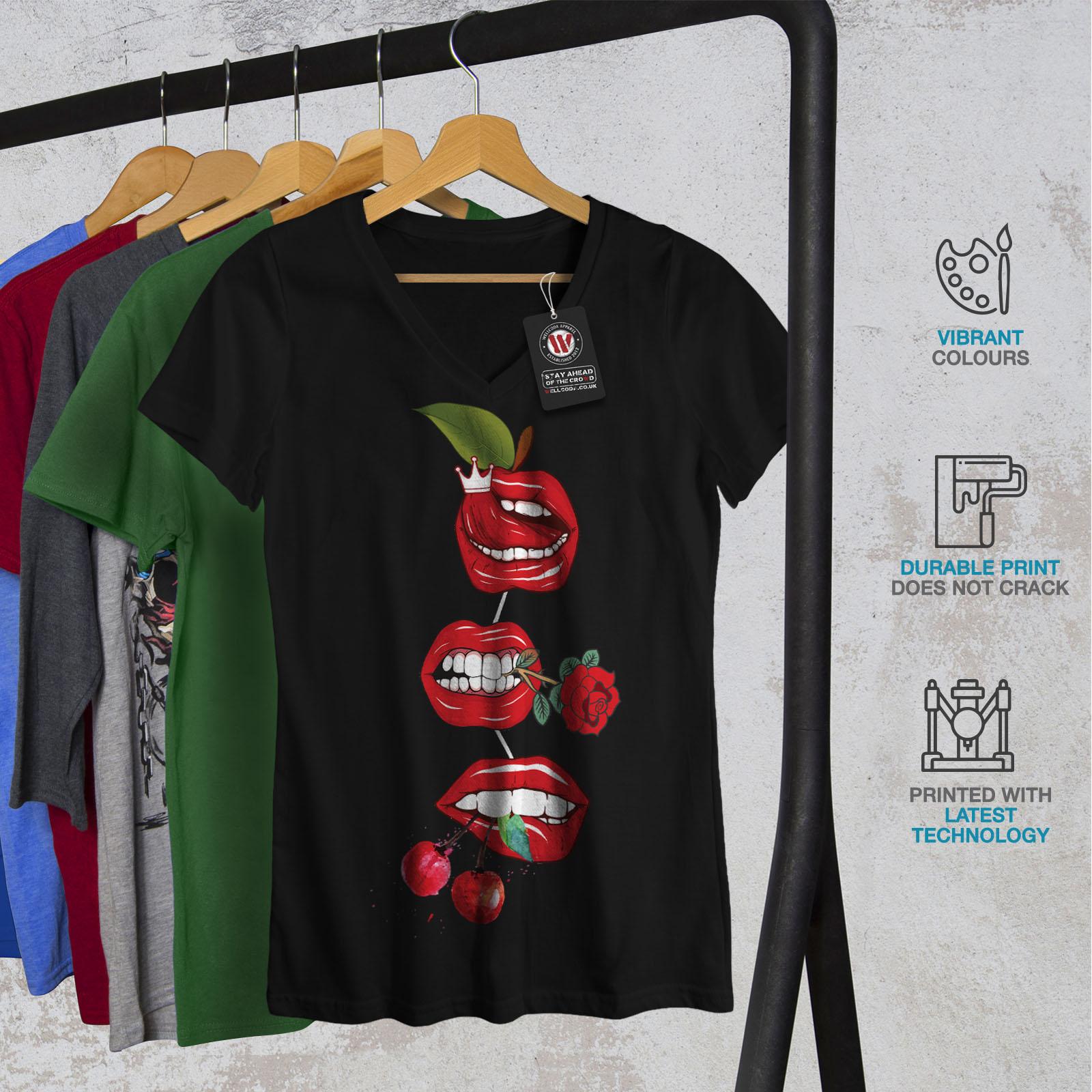 Wellcoda-Lip-Cherry-Cool-Womens-V-Neck-T-shirt-Rock-amp-Roll-Graphic-Design-Tee thumbnail 4