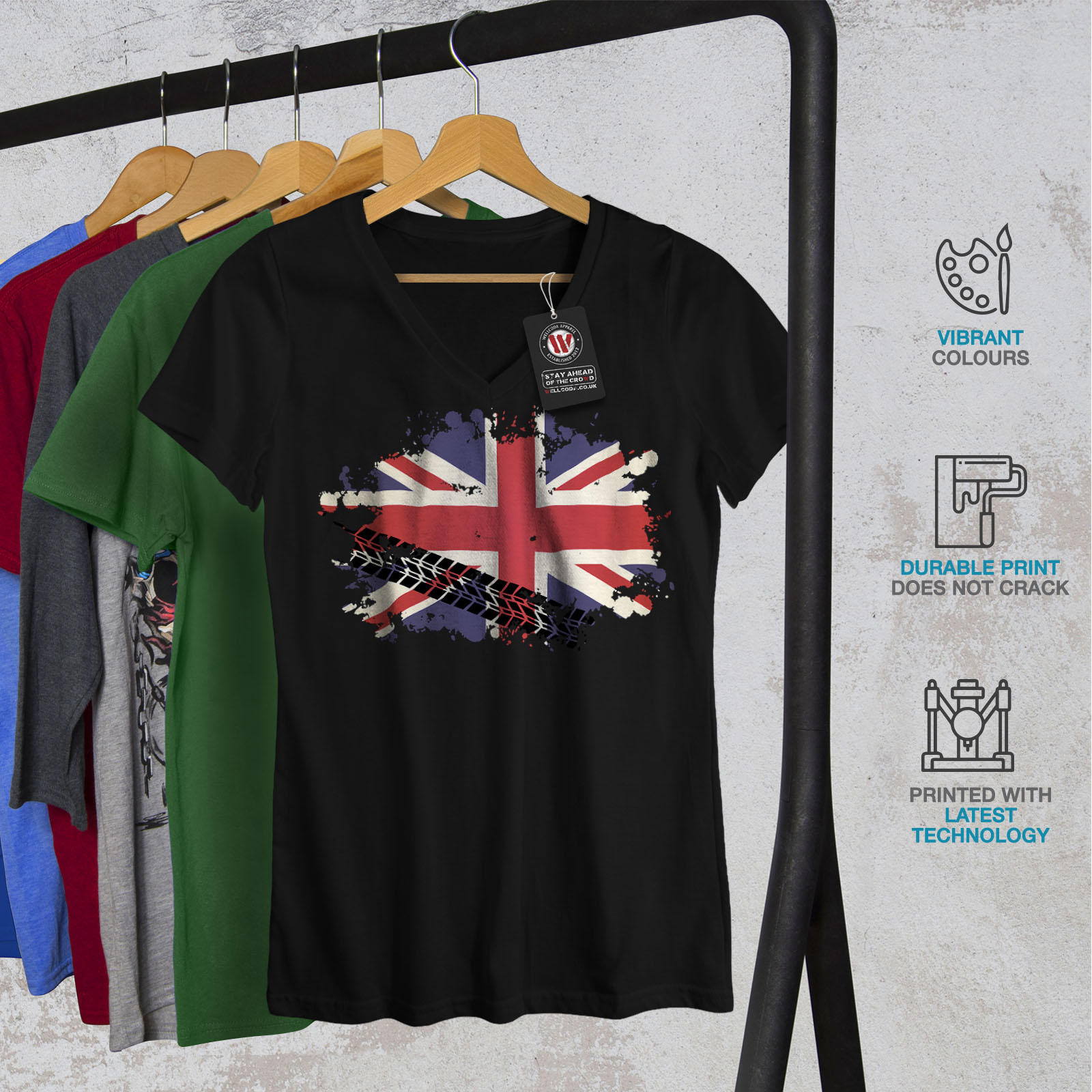 Wellcoda-Union-Jack-Drapeau-Femme-T-Shirt-col-V-la-Grande-Bretagne-conception-graphique-Tee miniature 4