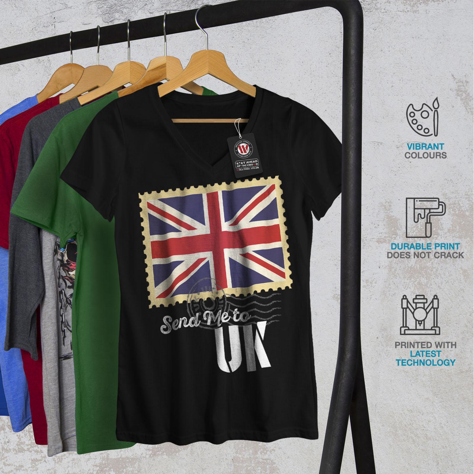 Wellcoda-UK-Flag-Tourist-Womens-V-Neck-T-shirt-England-Graphic-Design-Tee thumbnail 4