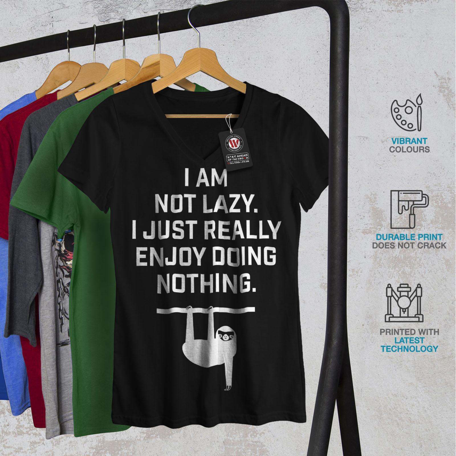 Wellcoda-Sloth-Lazy-Joke-Funny-Womens-V-Neck-T-shirt-Monkey-Graphic-Design-Tee thumbnail 4