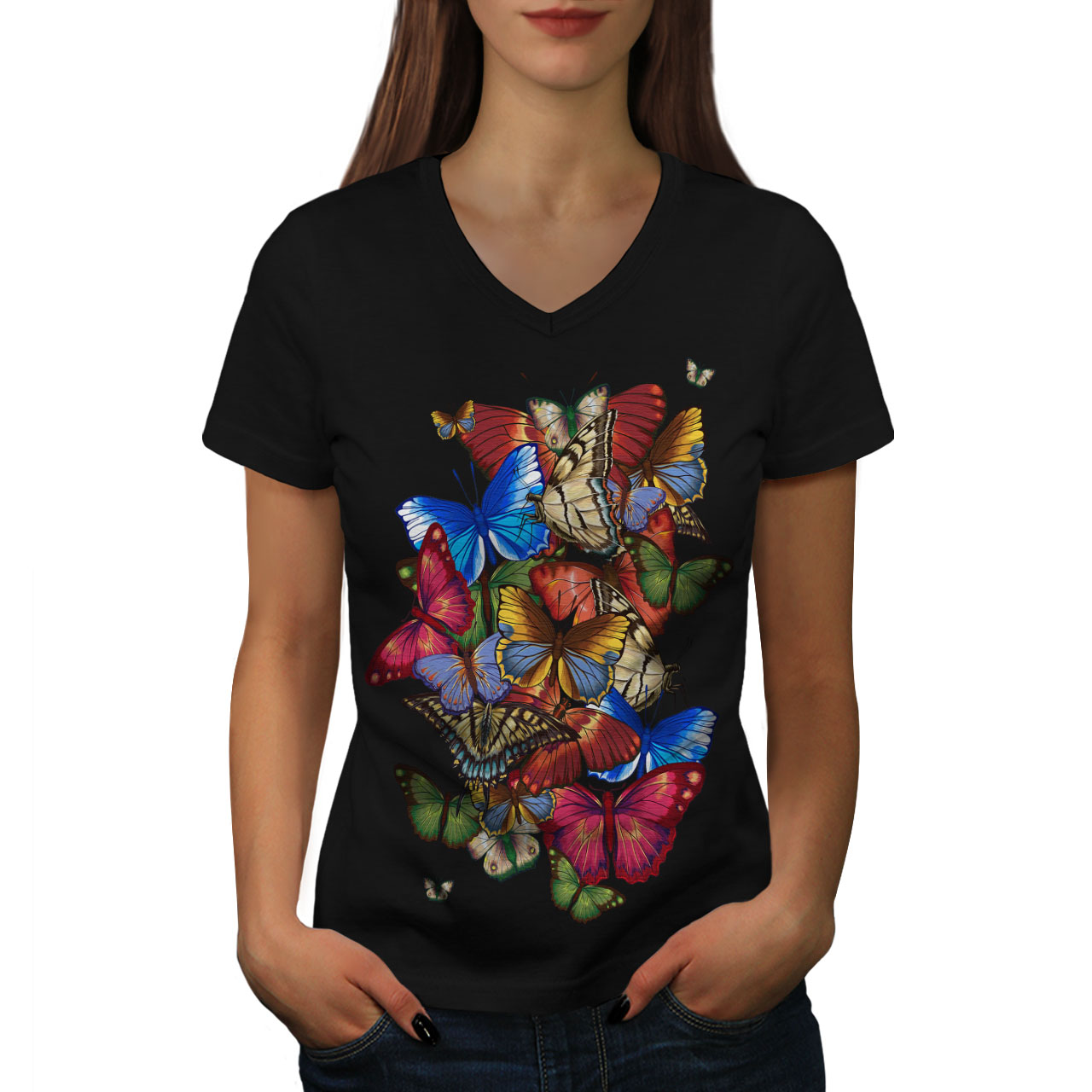 Wellcoda-Colorful-Butterfly-Womens-V-Neck-T-shirt-Freedom-Graphic-Design-Tee